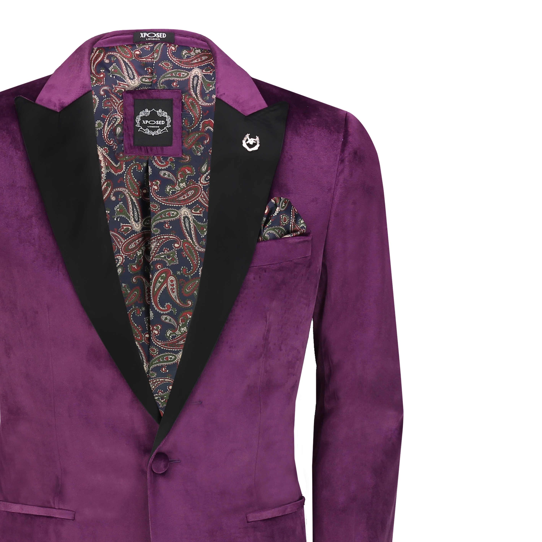 Homme Velours Dîner Veste Soft Smoking Manteau Pantalon Coupe Ajustée Costume Blazer