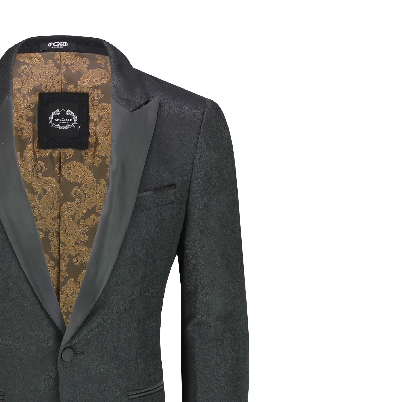 Men/'s Retro Printed Tuxedo Suit Jacket Black Peak Lapel Dinner Blazer Waistcoat