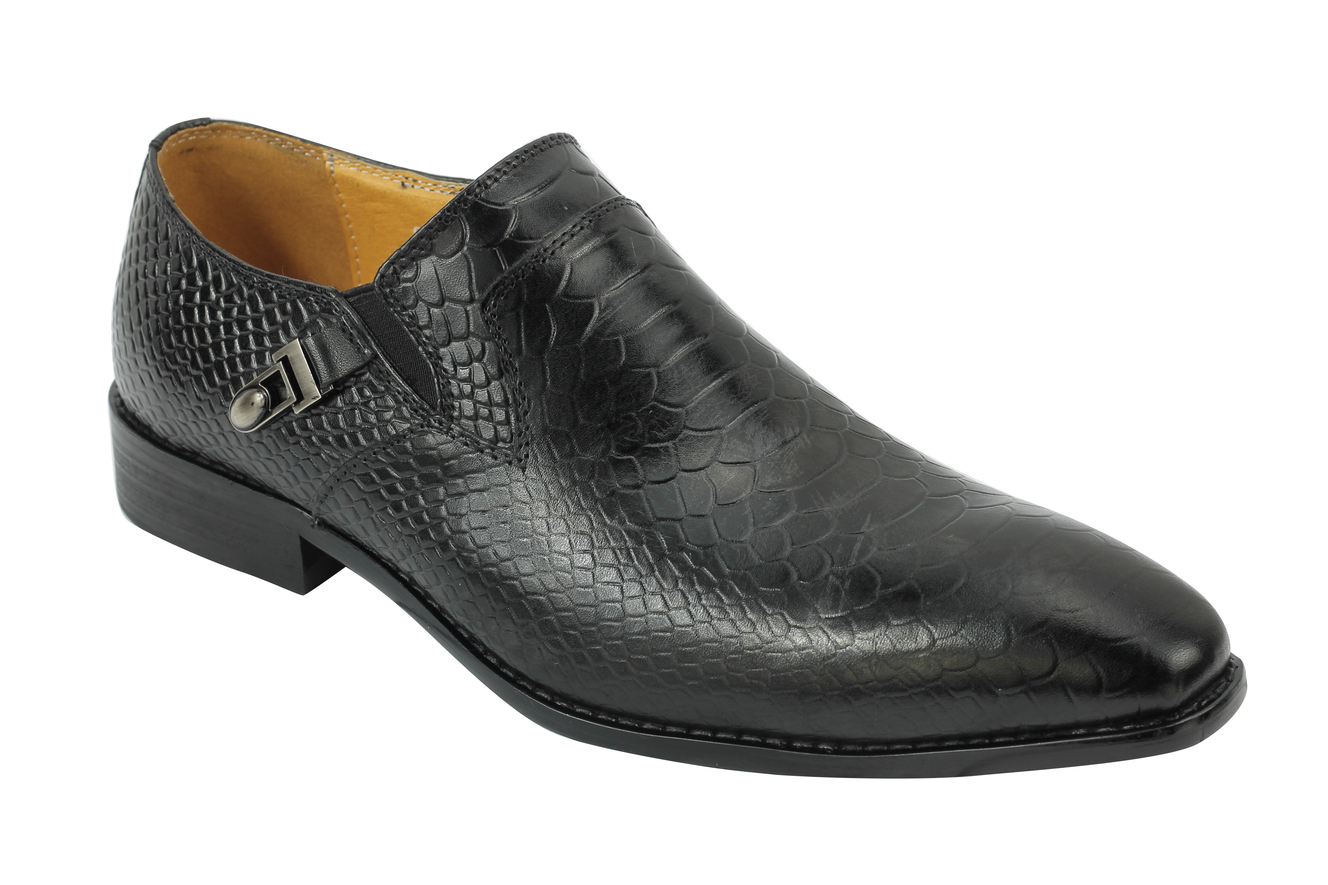 Mens New Real Leather Black Wine Brown Snakeskin Look Vintage Loafers MOD Shoes