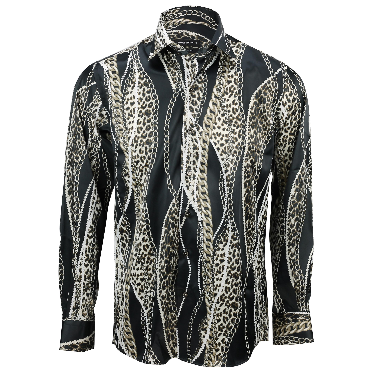Mens Italian Designer Style Party Shirt Smart Casual Silk Feel Black