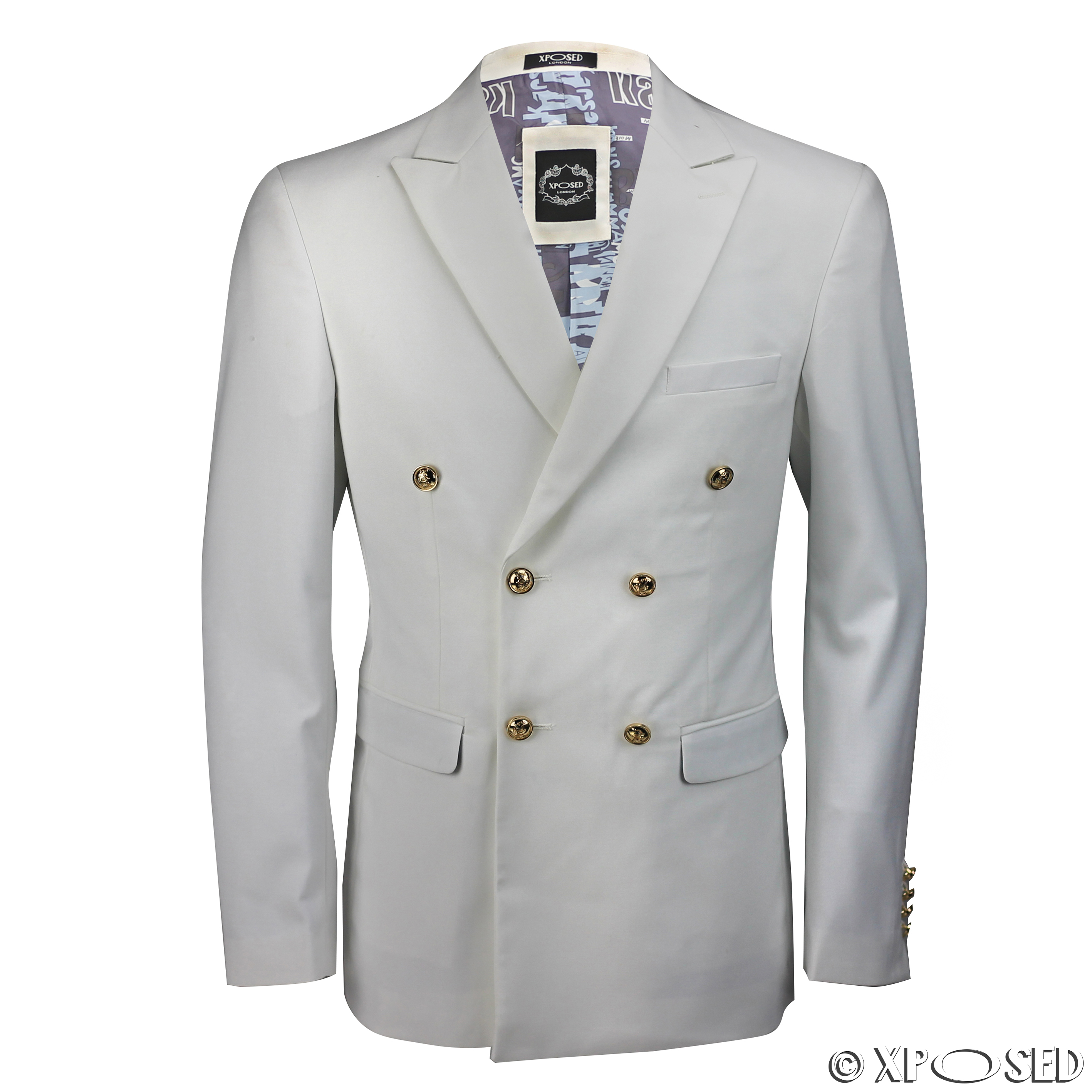 Mens Classic Fitted Double Breasted Black Blue Blazer Gold Button ...
