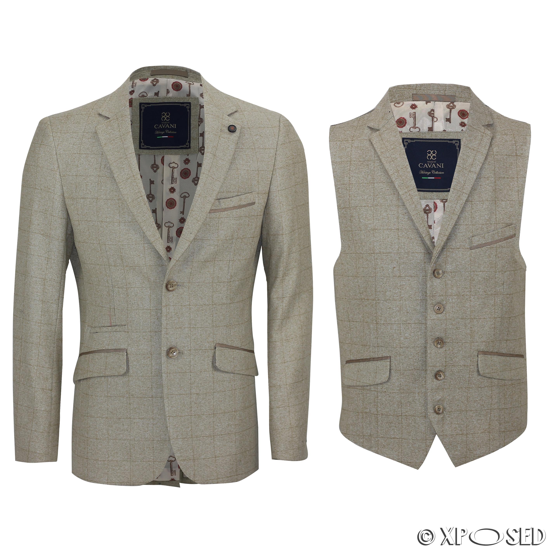 mens tan oak tailored fit vintage designer check blazer. Black Bedroom Furniture Sets. Home Design Ideas