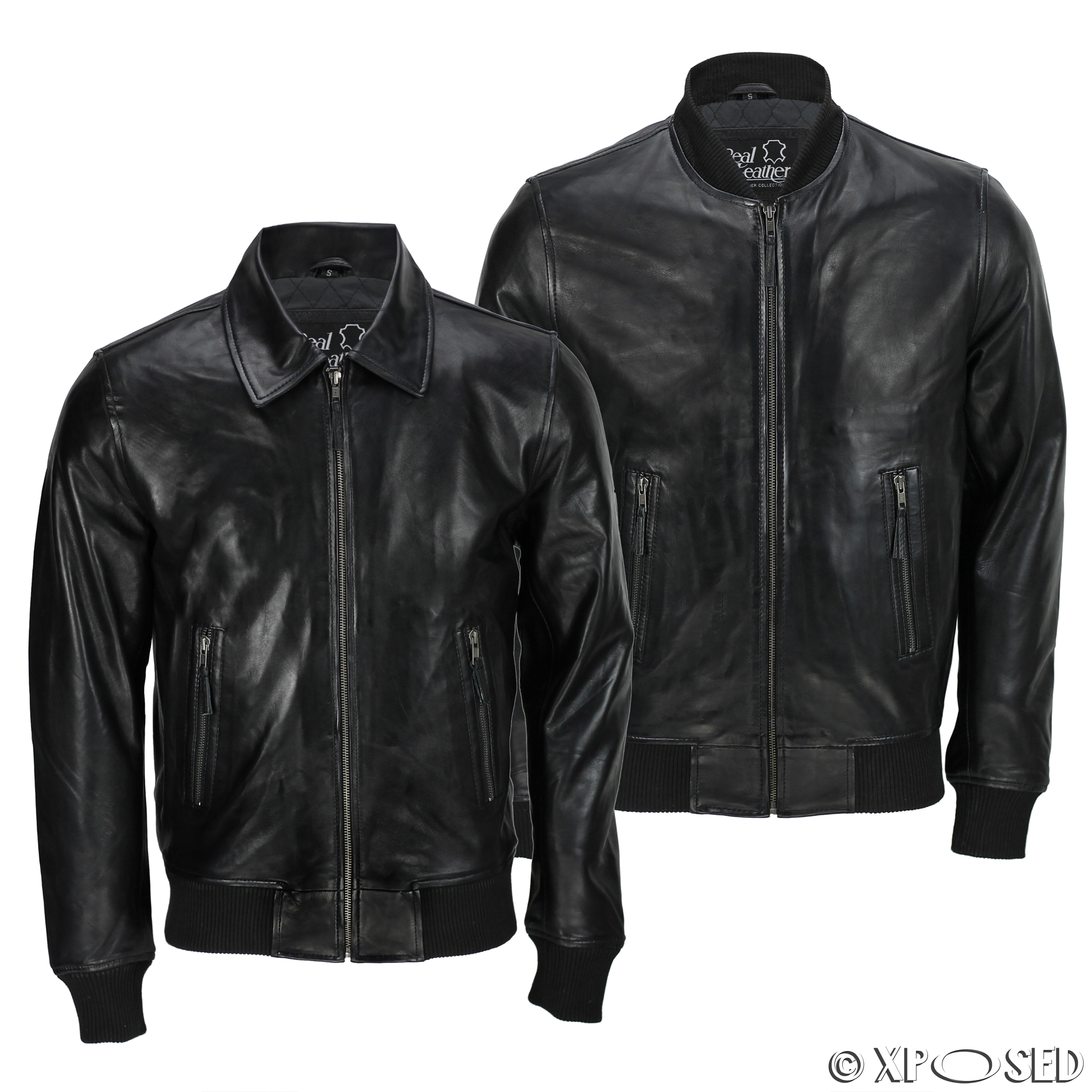 Mens Black Soft Real Leather Vintage Collar Bomber Style