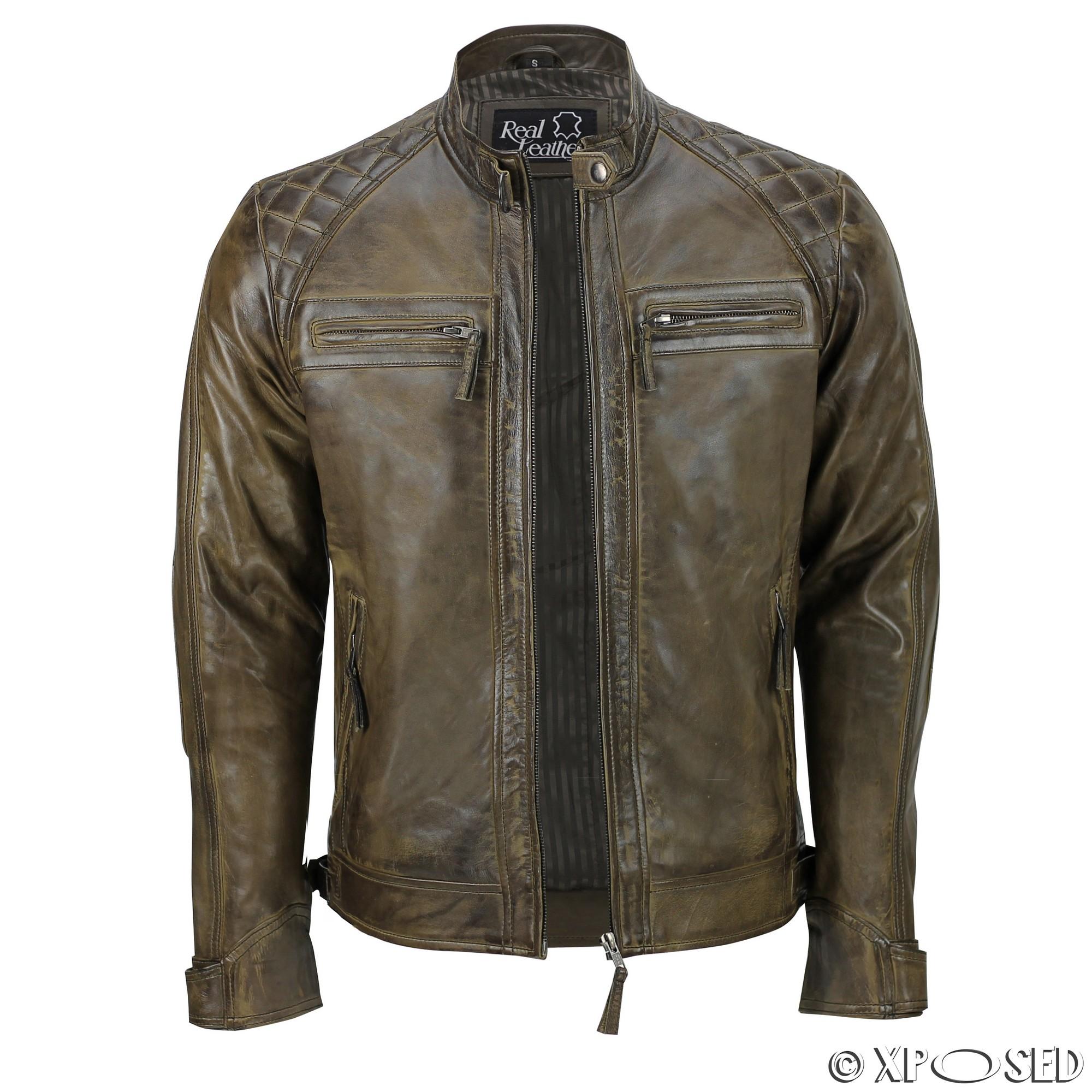 Ebay mens leather jacket