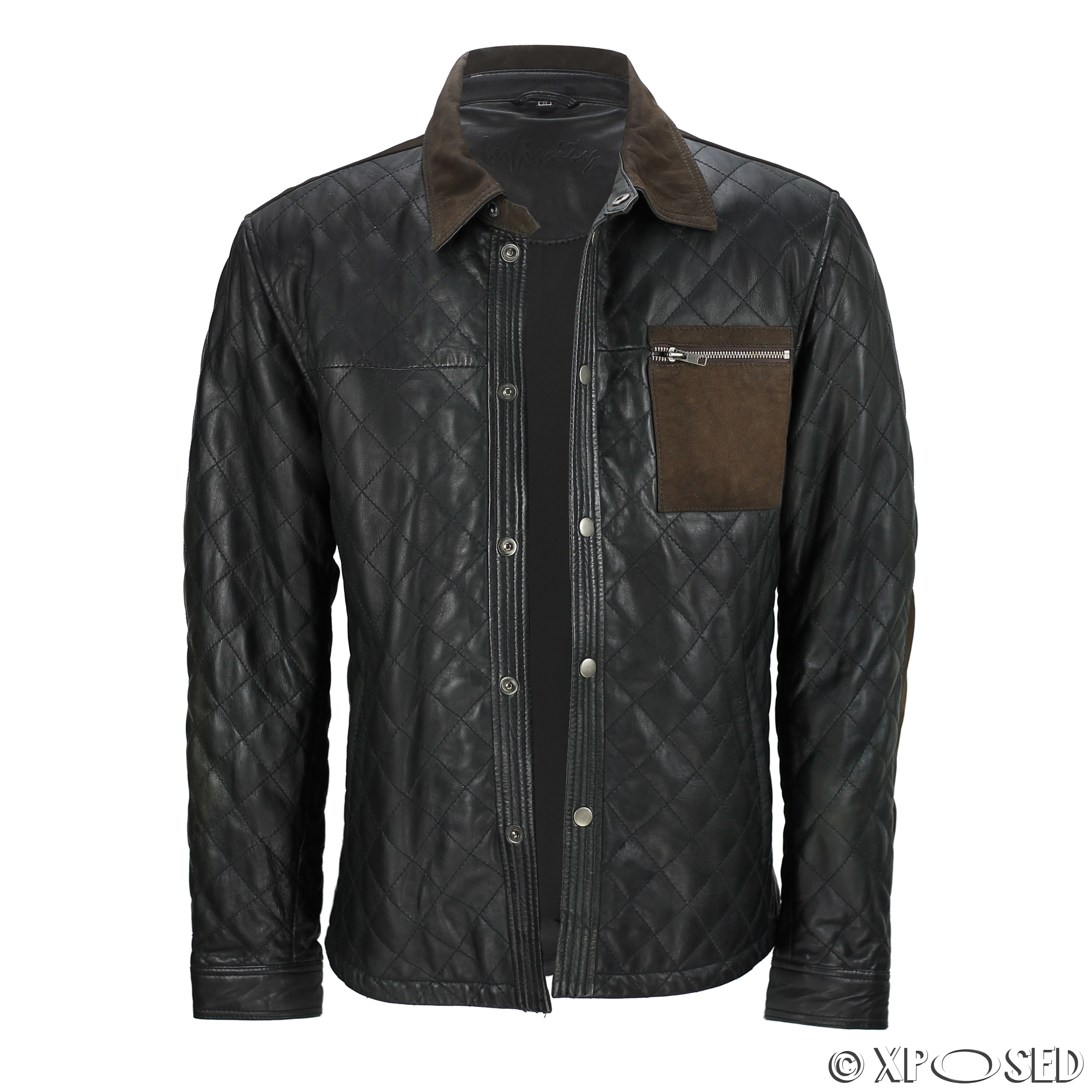 Men s black soft real quilted leather shirt brown suede for Leather jacket and shirt
