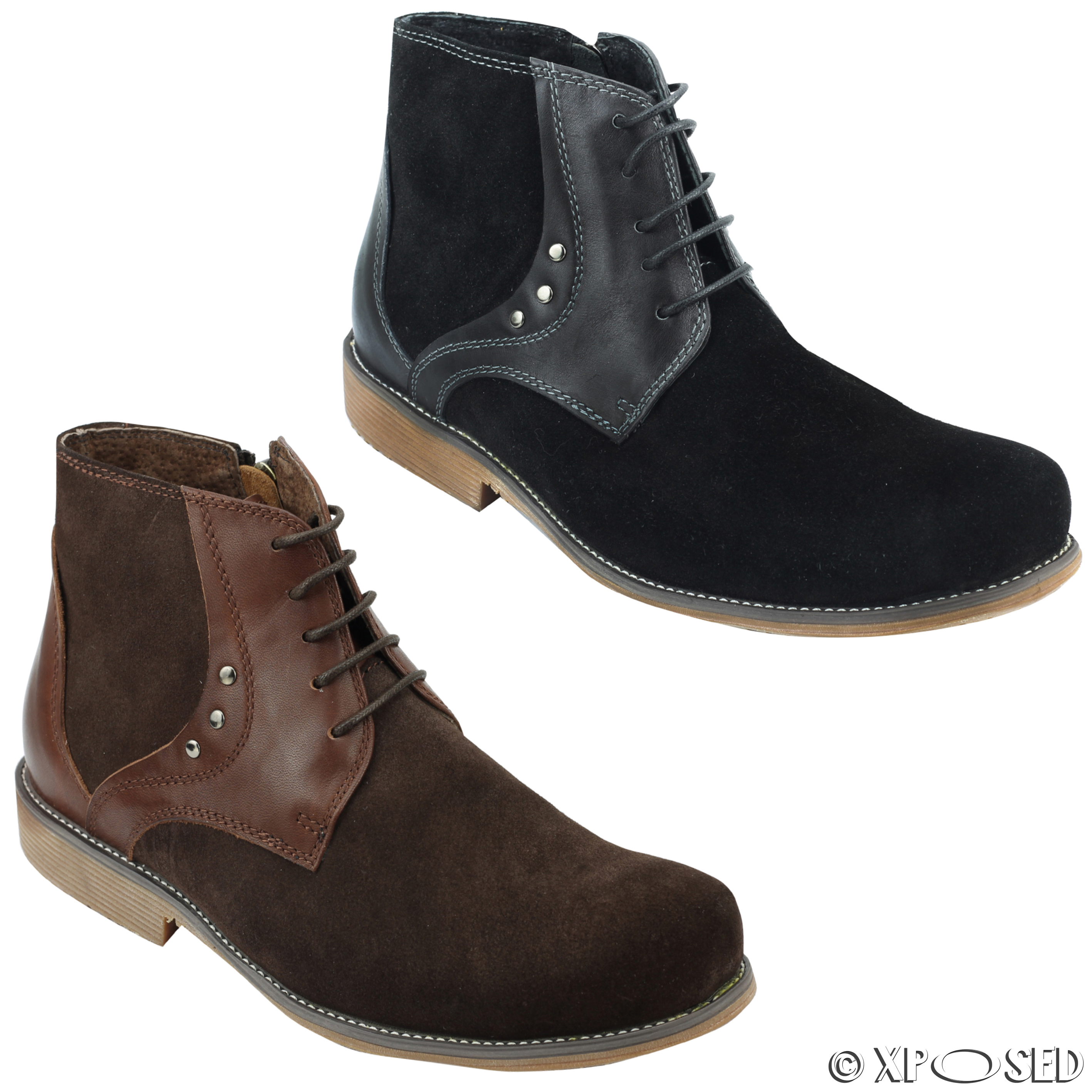 new mens suede real leather chukka ankle boots in black