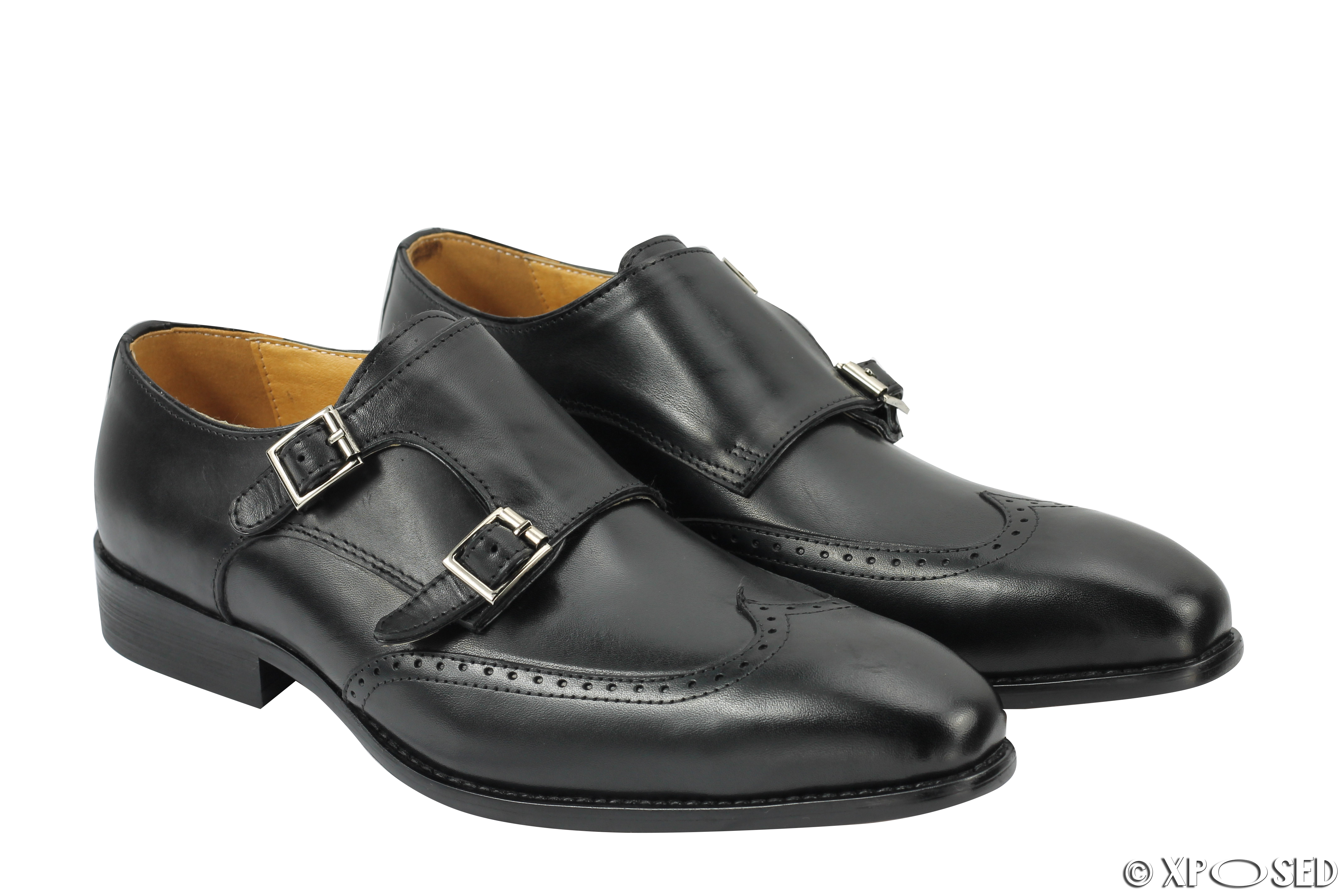 new black brown real leather monk