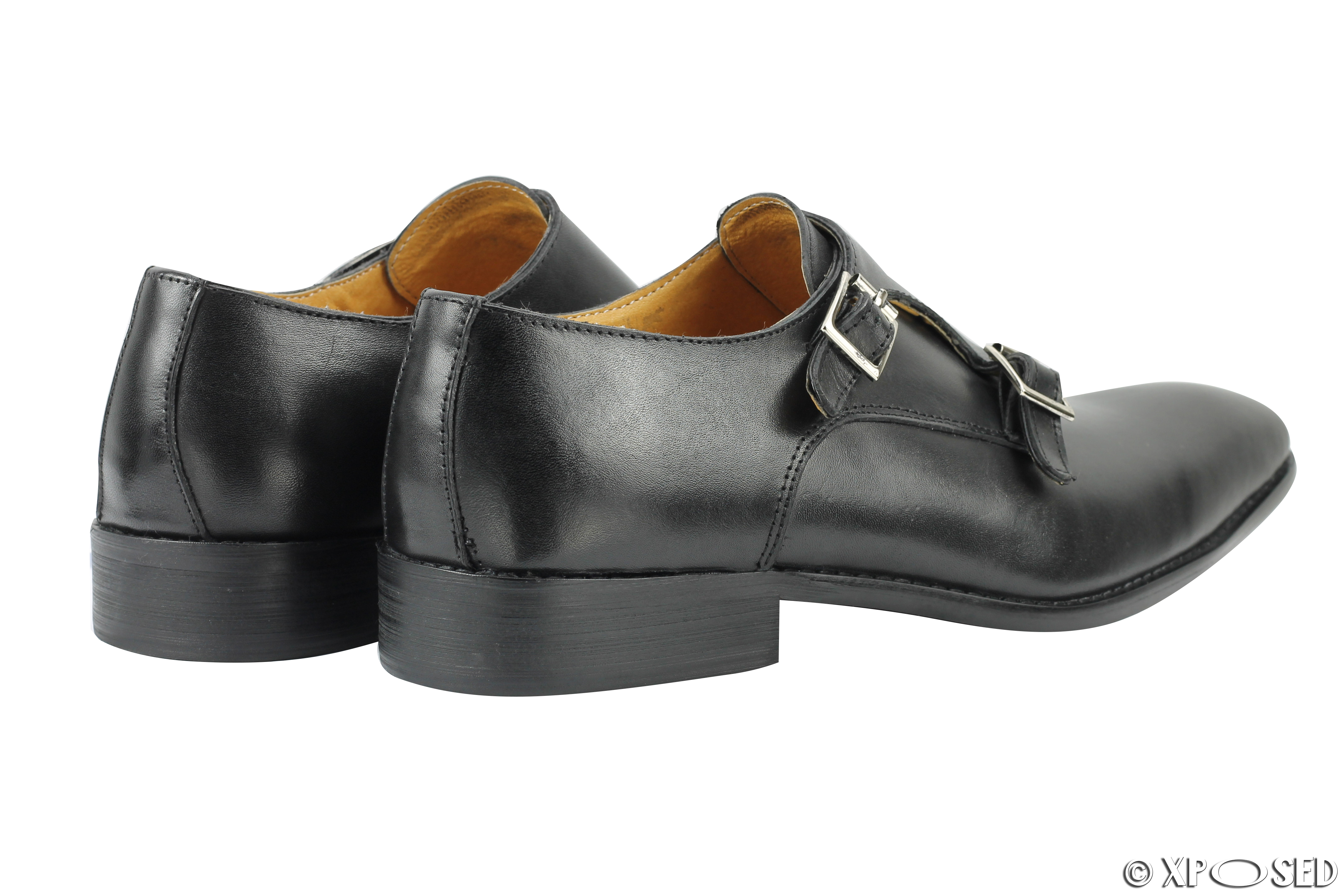 mens new polished leather black brown classic monk straps