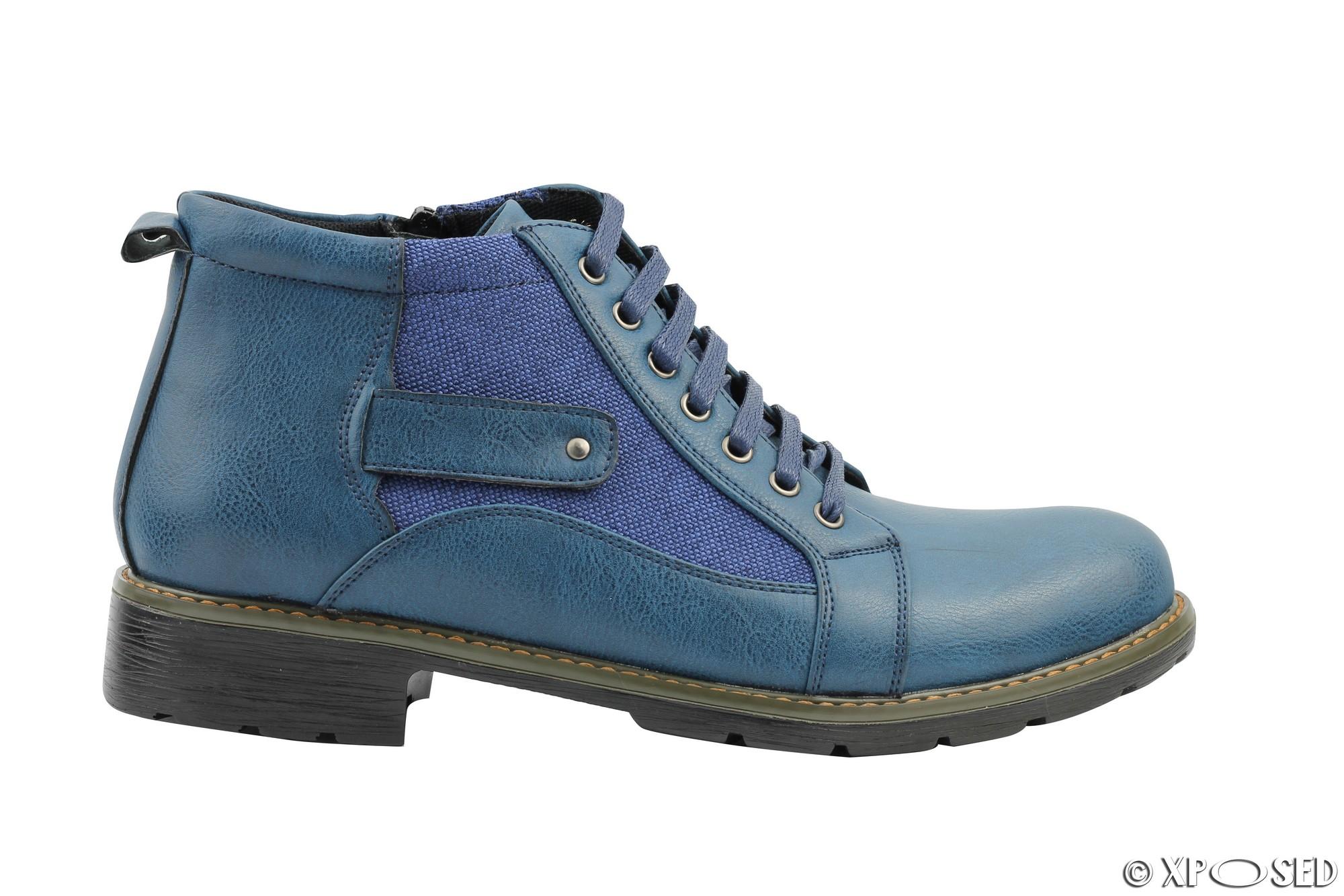 mens faux leather amp canvas boots vintage smart casual lace