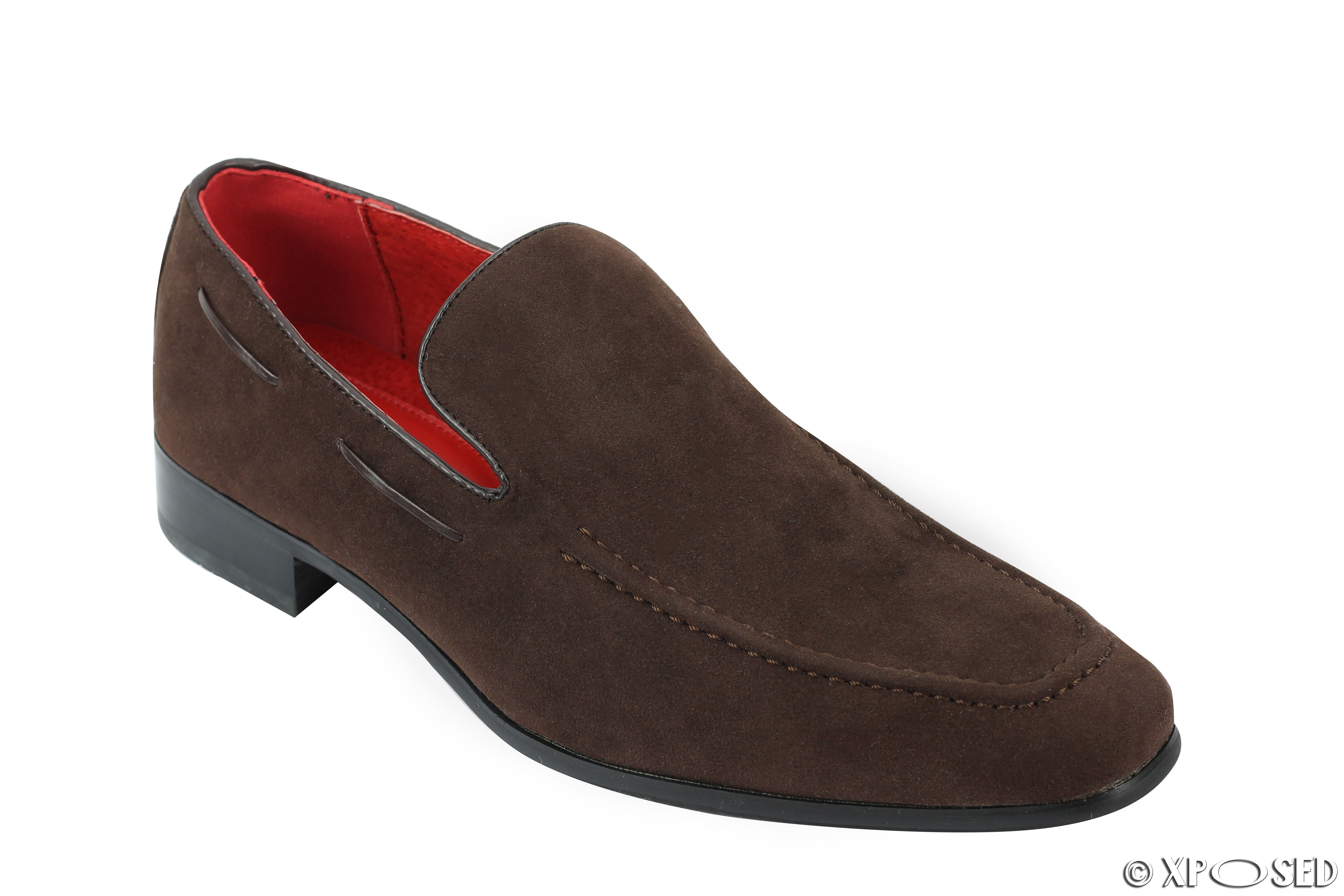mens leather line suede slip on loafers smart casual