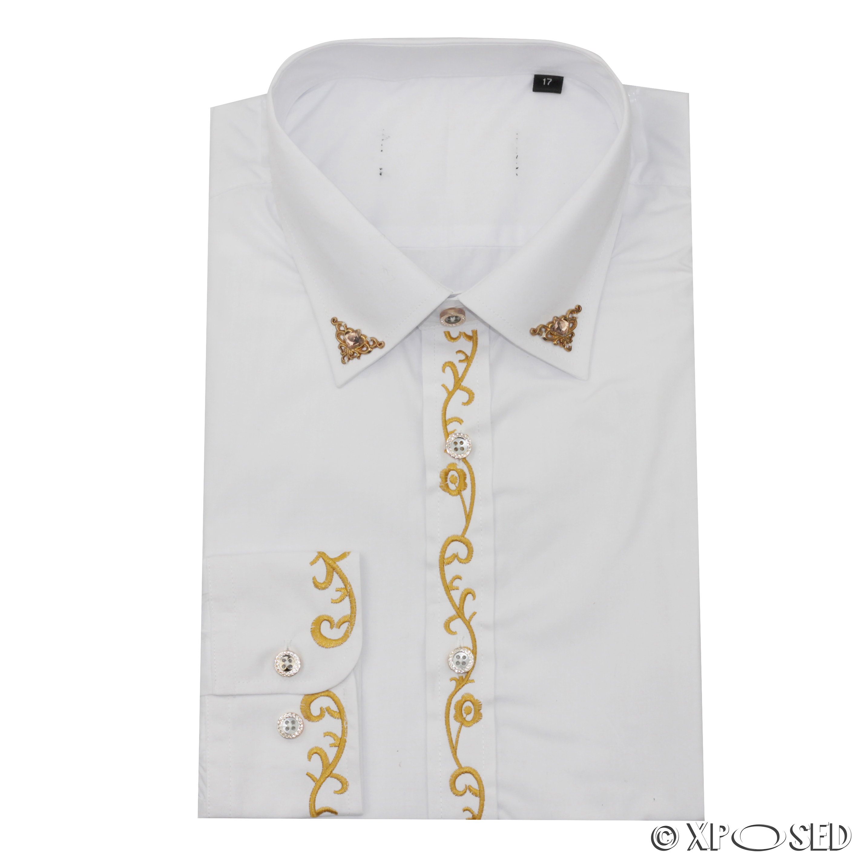 Wedding White Shirt: Mens White Vintage Wedding Party Dress Gold Embroidery