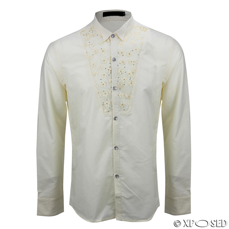 Mens black cream slim fit disco 70s wedding fancy dress for Men s wedding dress shirts