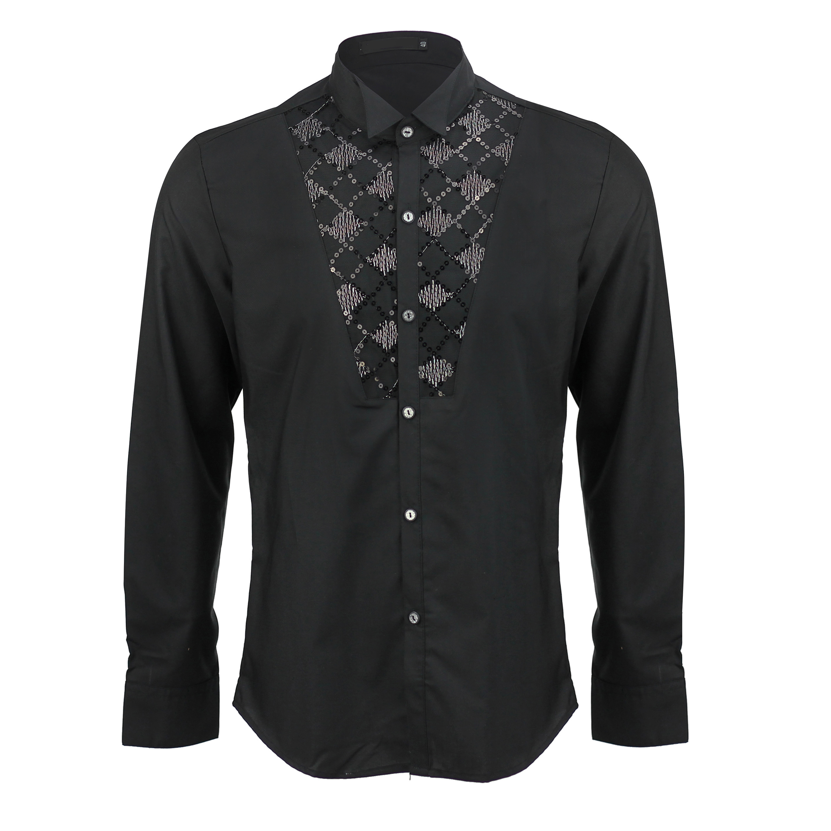 Mens slim fit black sequence wing tip collar tuxedo fancy for Black tuxedo shirt for men