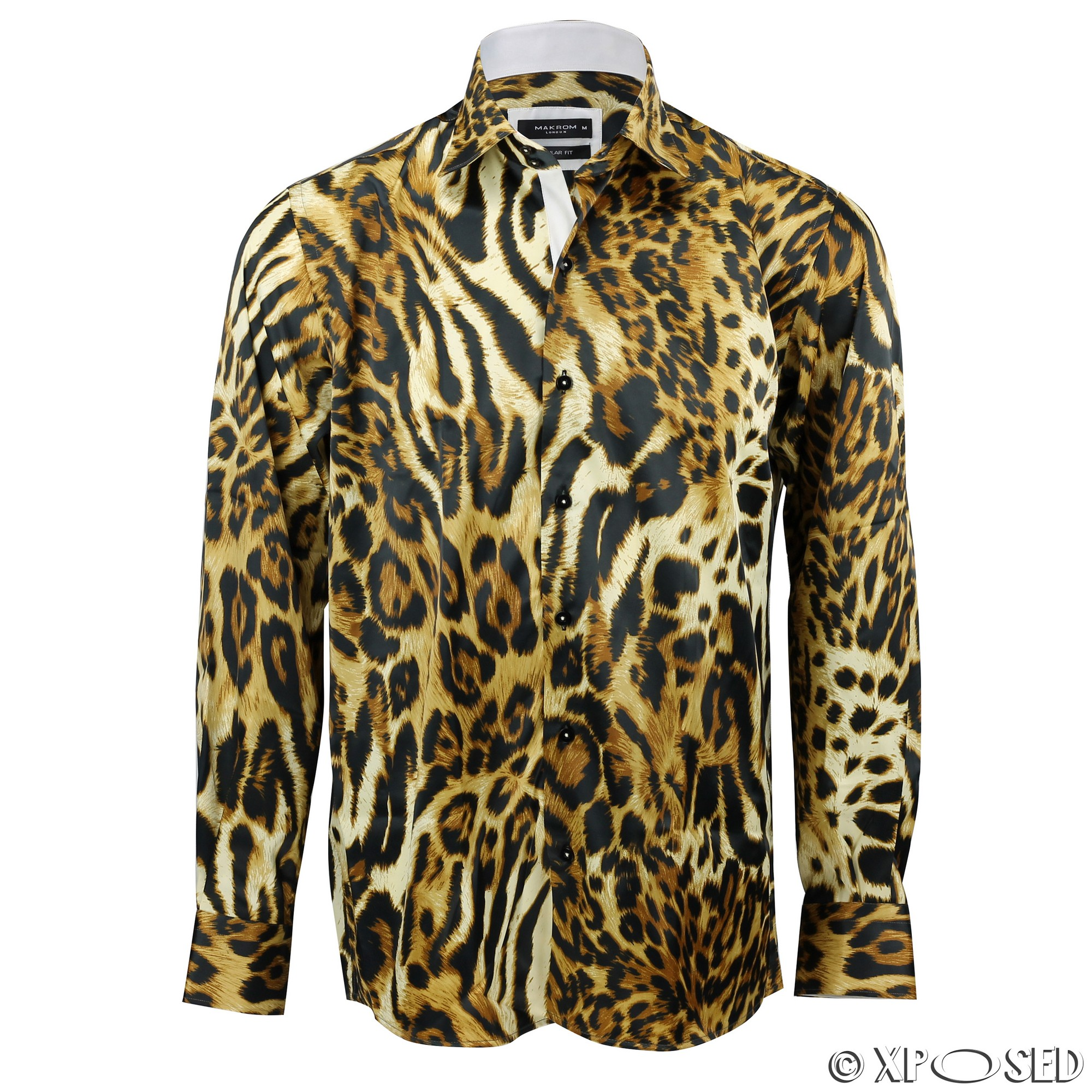 John Lennon Men's Fashion Shirt with Leopard Print on Collar Luxury Fit Dress Shirt is the perfect top for your work or leisure style. Size: Medium.