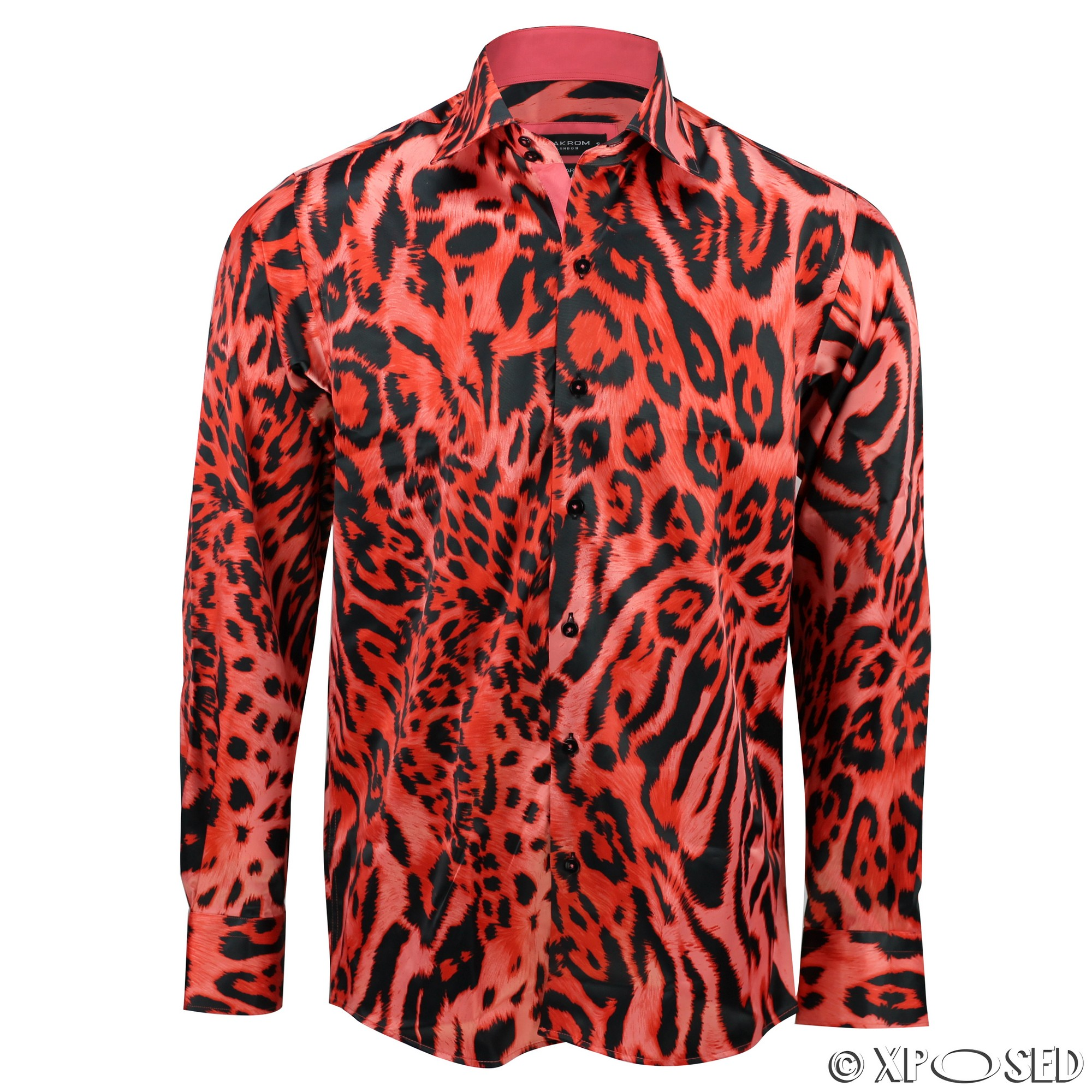 Mens Italian Designer Style Smart Casual Silk Feel Leopard Animal ...