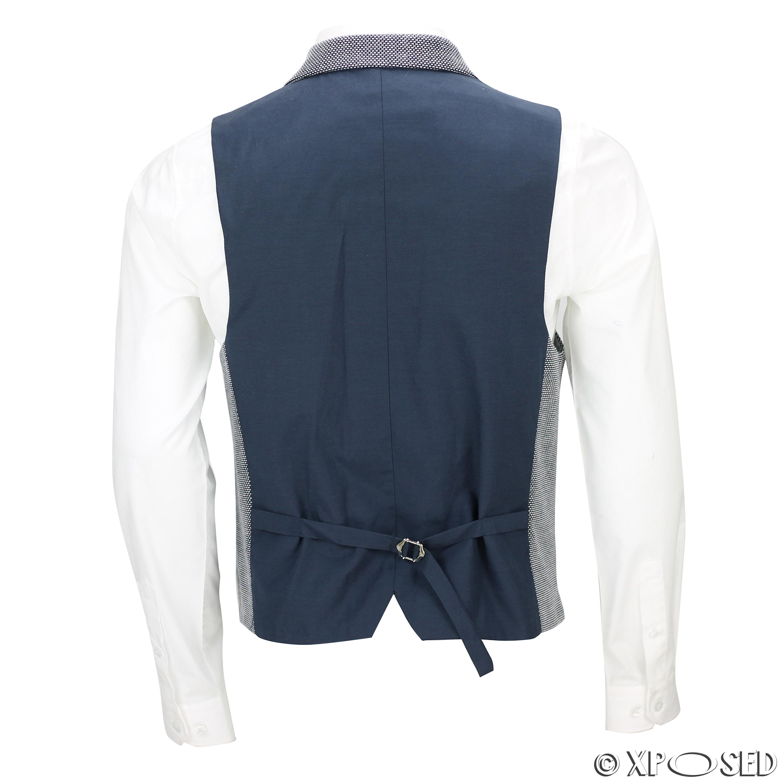 Nouveau-pour-homme-bleu-blanc-vintage-sur-mesure-Fit-Designer-blazer-jacket-gilet-debardeur