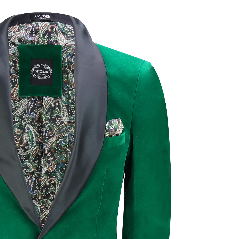 Mens Green Velvet Tuxedo Suit Jacket Black Lapel Blazer Smart Formal Dinner Coat