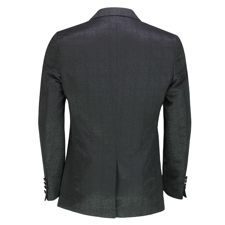 Men's Retro Printed Tuxedo Suit Jacket Black Peak Lapel ...