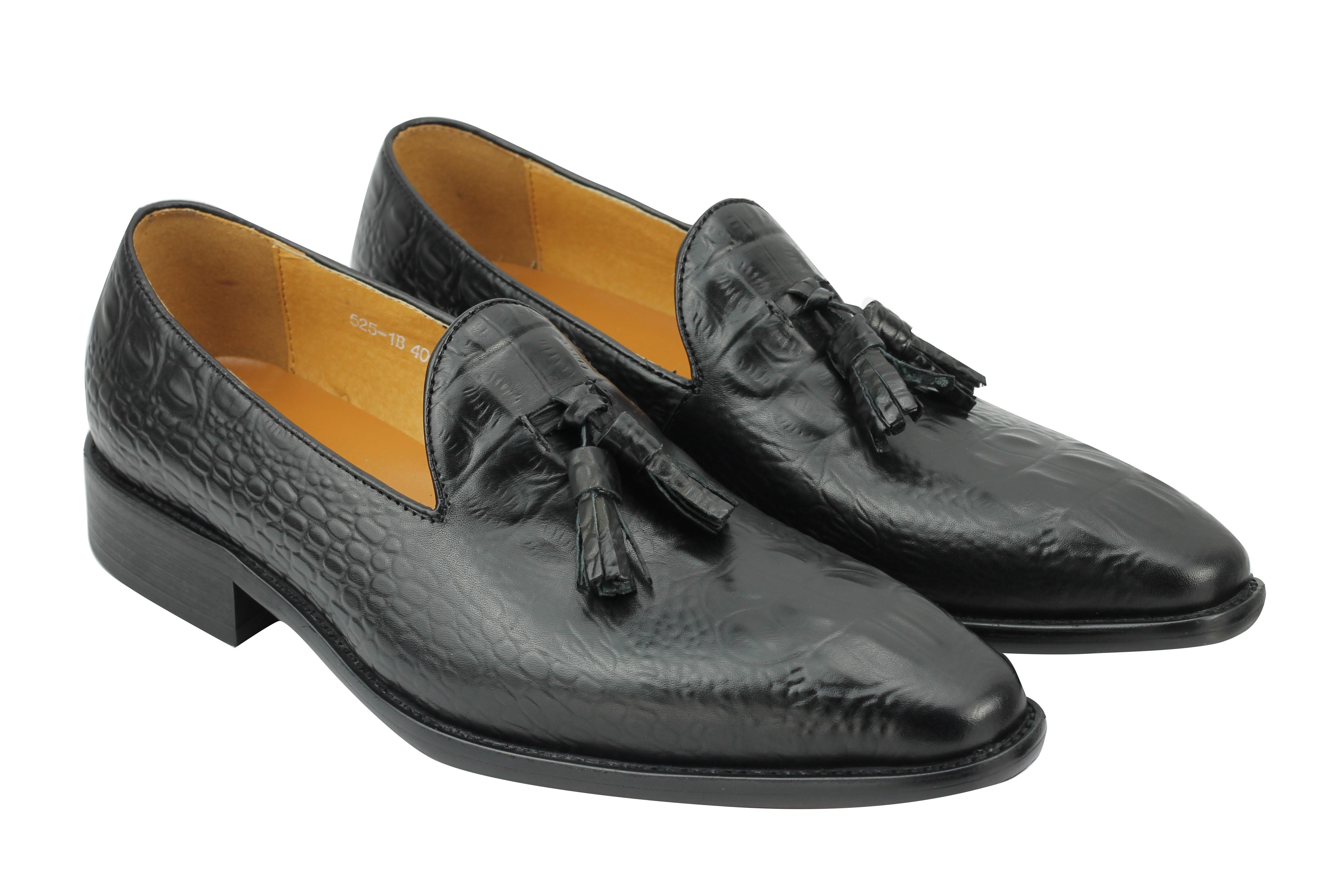 7686b1b7bb7 New Men Black Tan Real Leather Snakeskin Look Tassel Loafers Shoes 6 ...