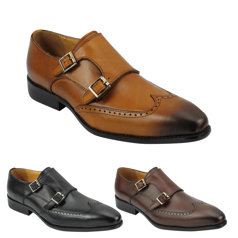1ec82a16b933 Details about New Men Black Brown Tan Real Leather Double Monk Strap Smart  Shoes 6 7 8 9 10 11