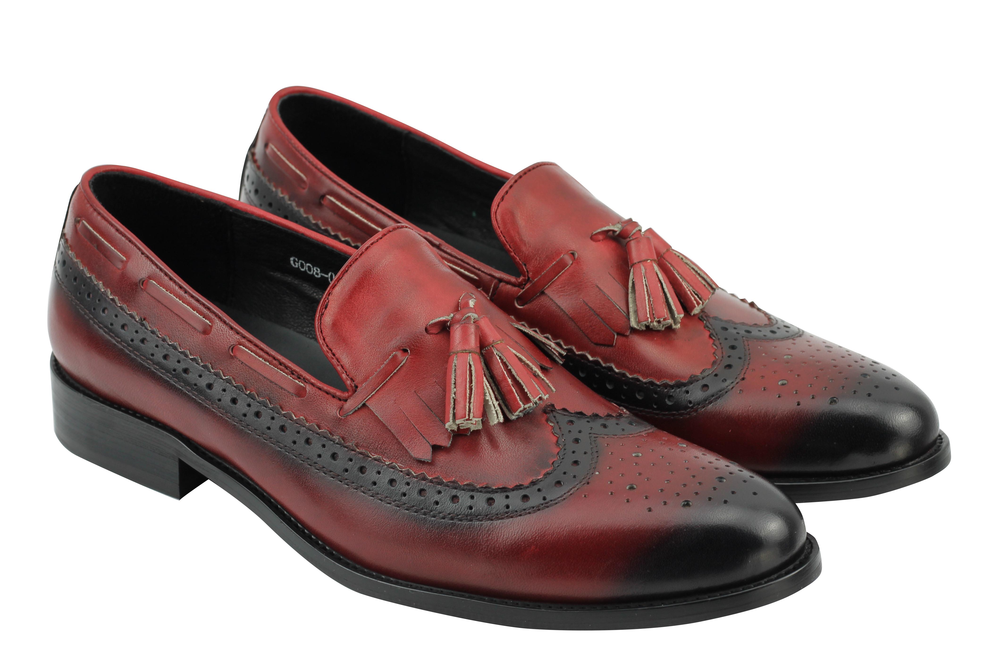 Mens Real Burnished Leather Brown Fringed Tassel Lace ups Vintage Brouge Shoes