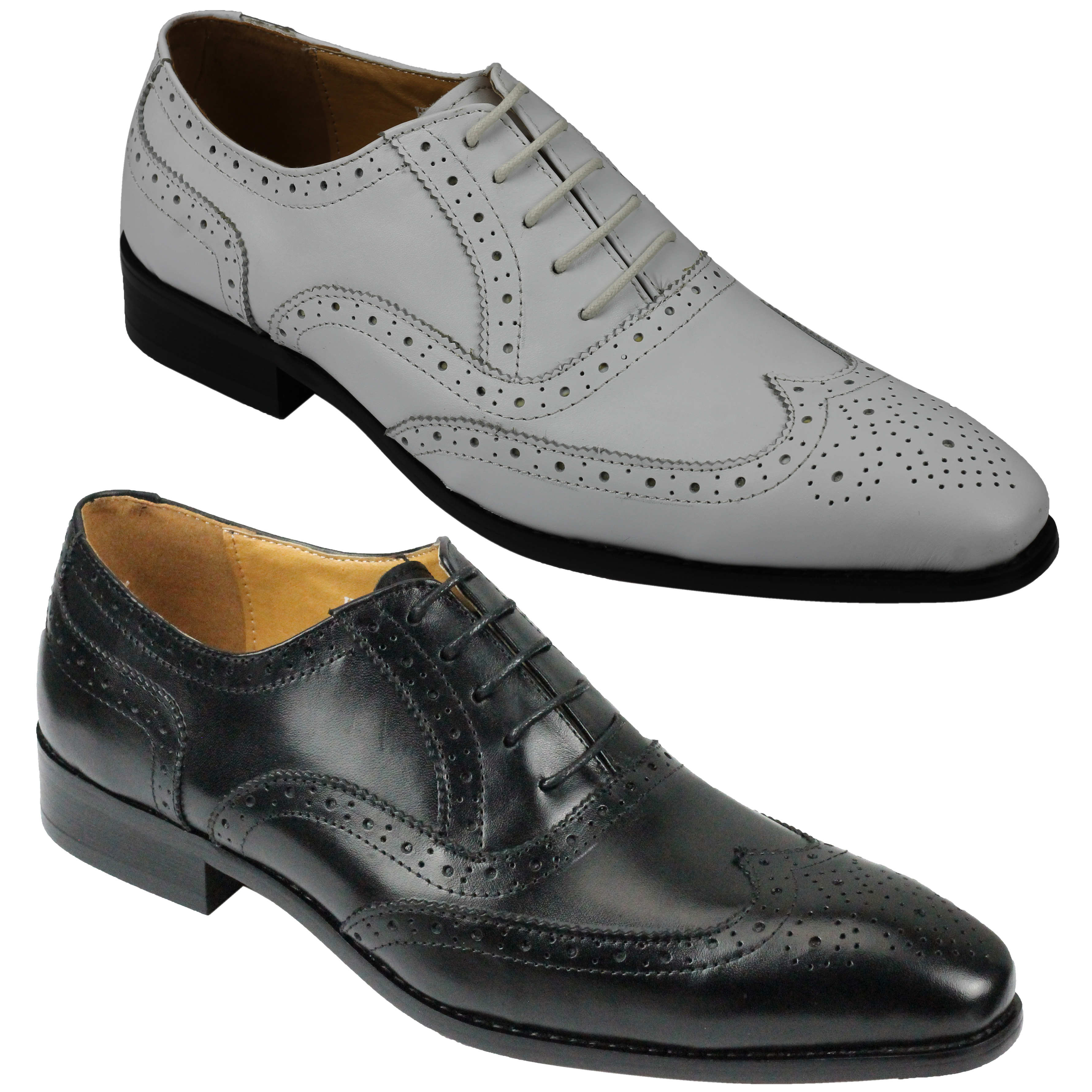 New in box men/'s dress shoes formal lace oxfords style 100/% real leather black