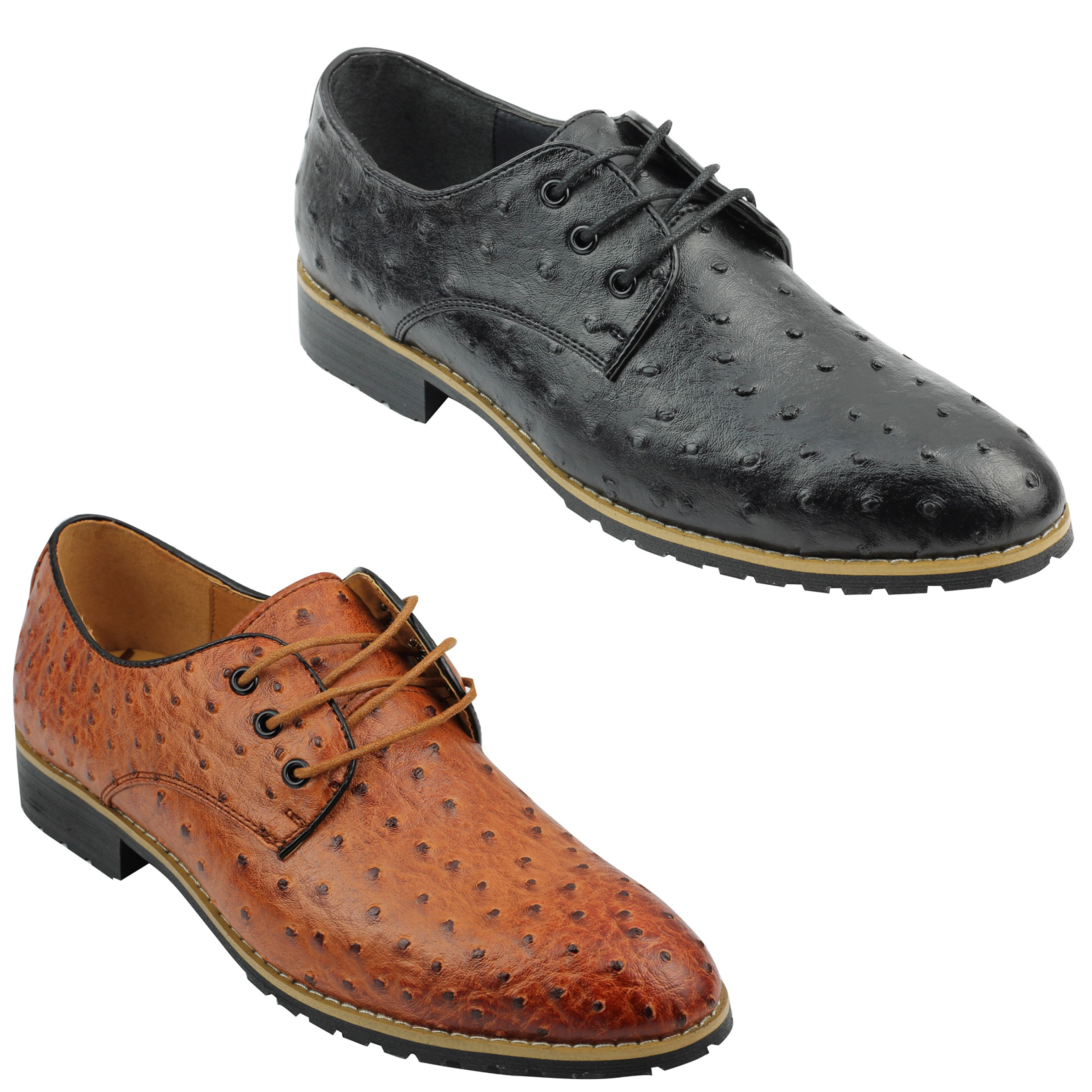Mens Leather Lined Tan Brown Black Ostrich Skin Look Smart Casual Lace up  Shoes f1f008f409b8