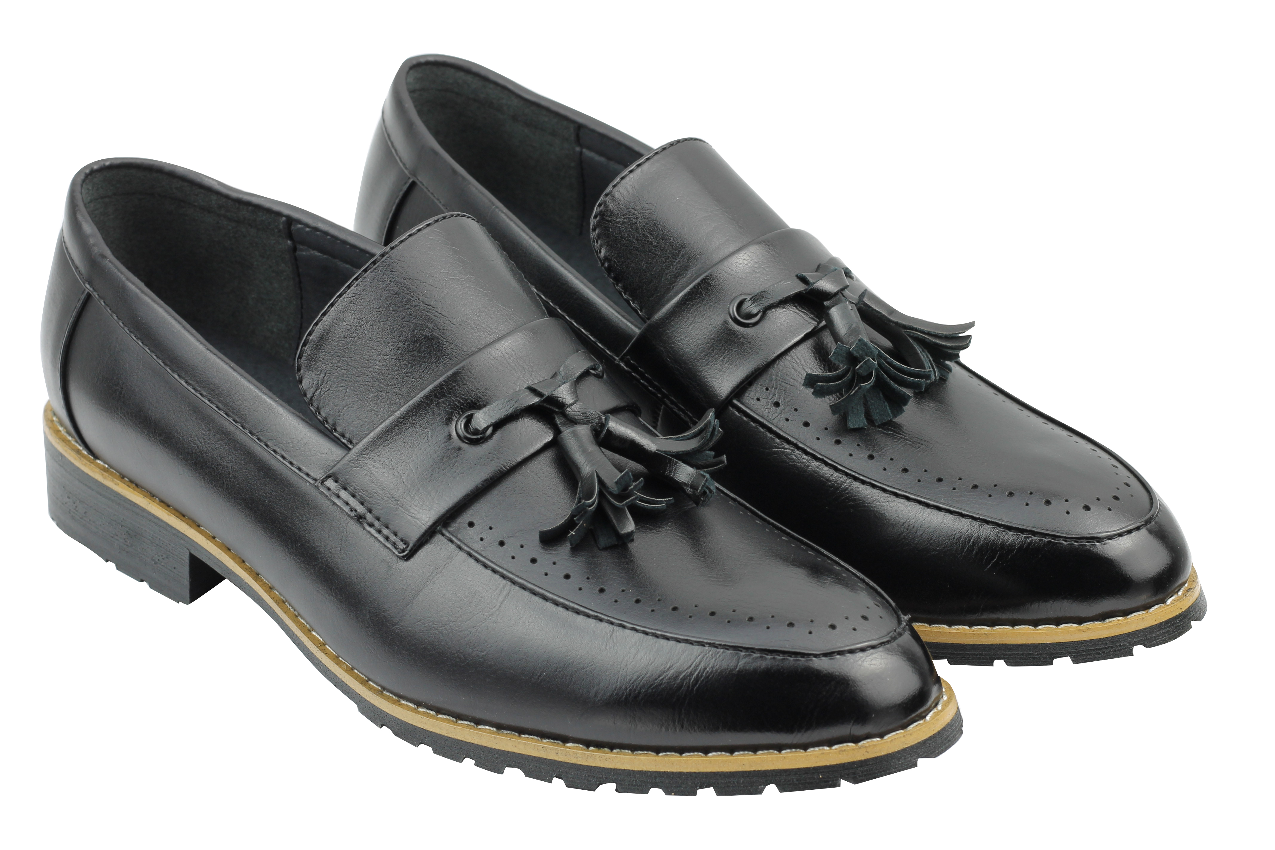 Mens-Leather-Lined-Maroon-Black-Tassel-Loafer-Smart-Casual-Slip-on-Driving-Shoes thumbnail 3