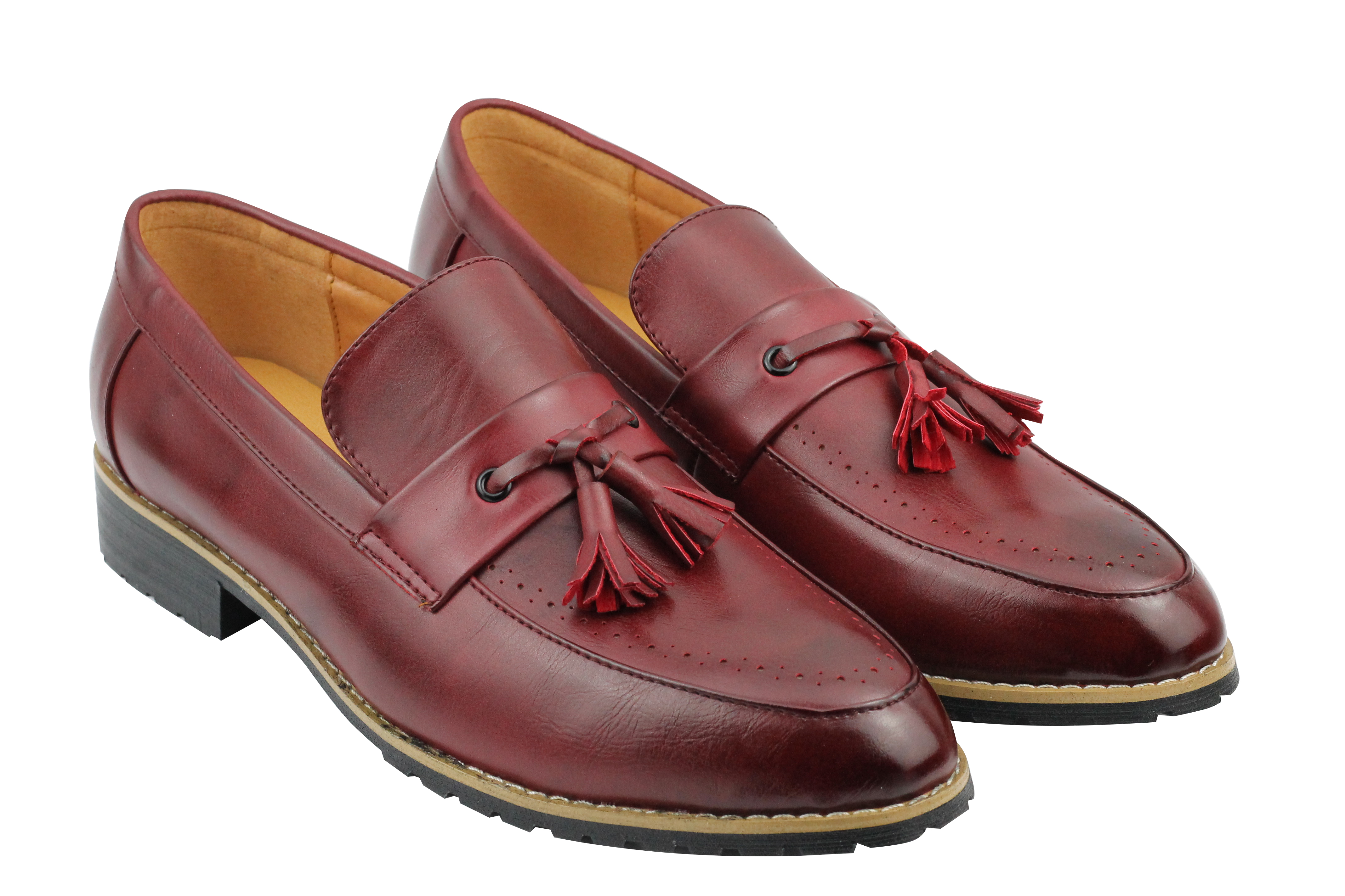 Mens-Leather-Lined-Maroon-Black-Tassel-Loafer-Smart-Casual-Slip-on-Driving-Shoes thumbnail 8