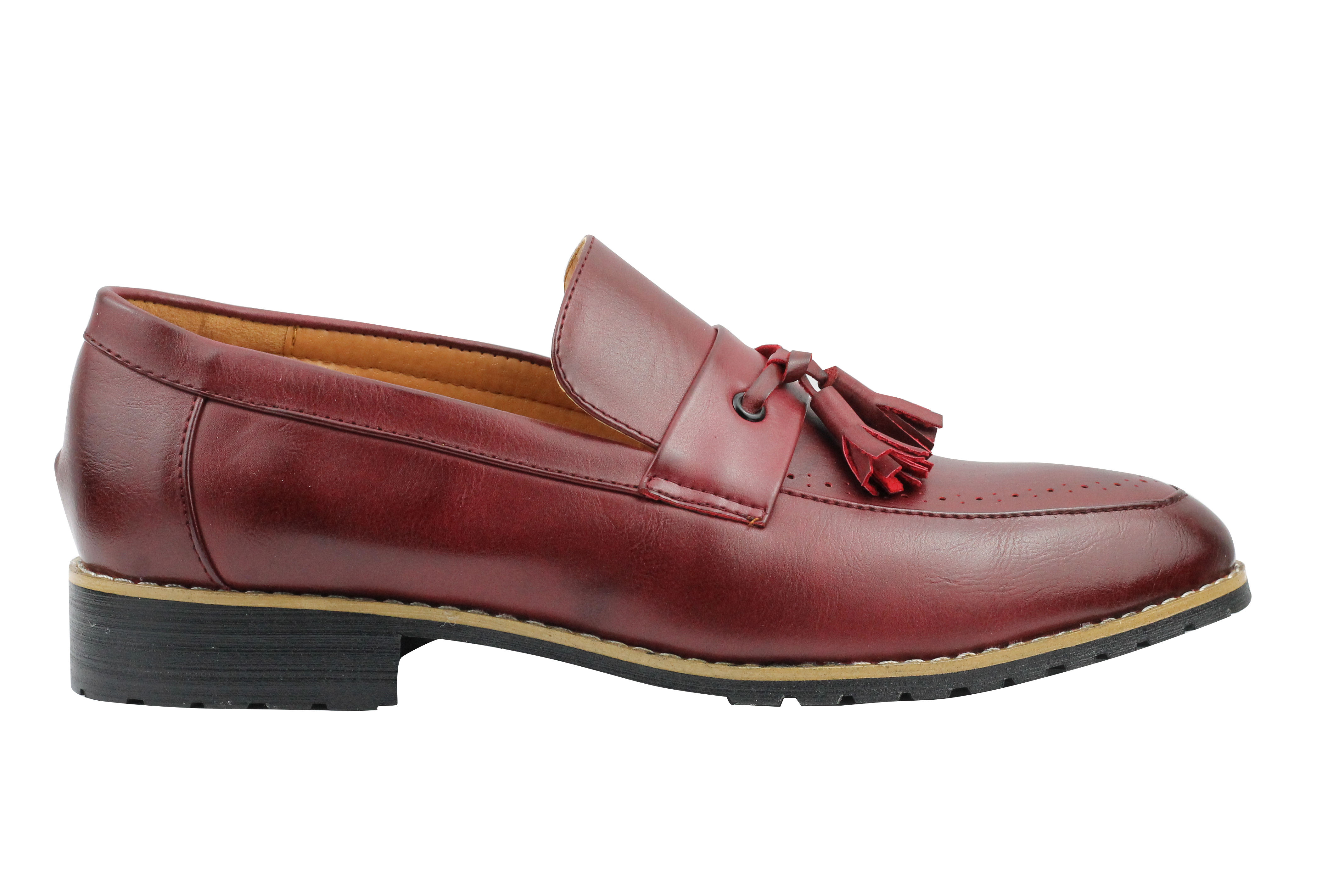 Mens-Leather-Lined-Maroon-Black-Tassel-Loafer-Smart-Casual-Slip-on-Driving-Shoes thumbnail 9