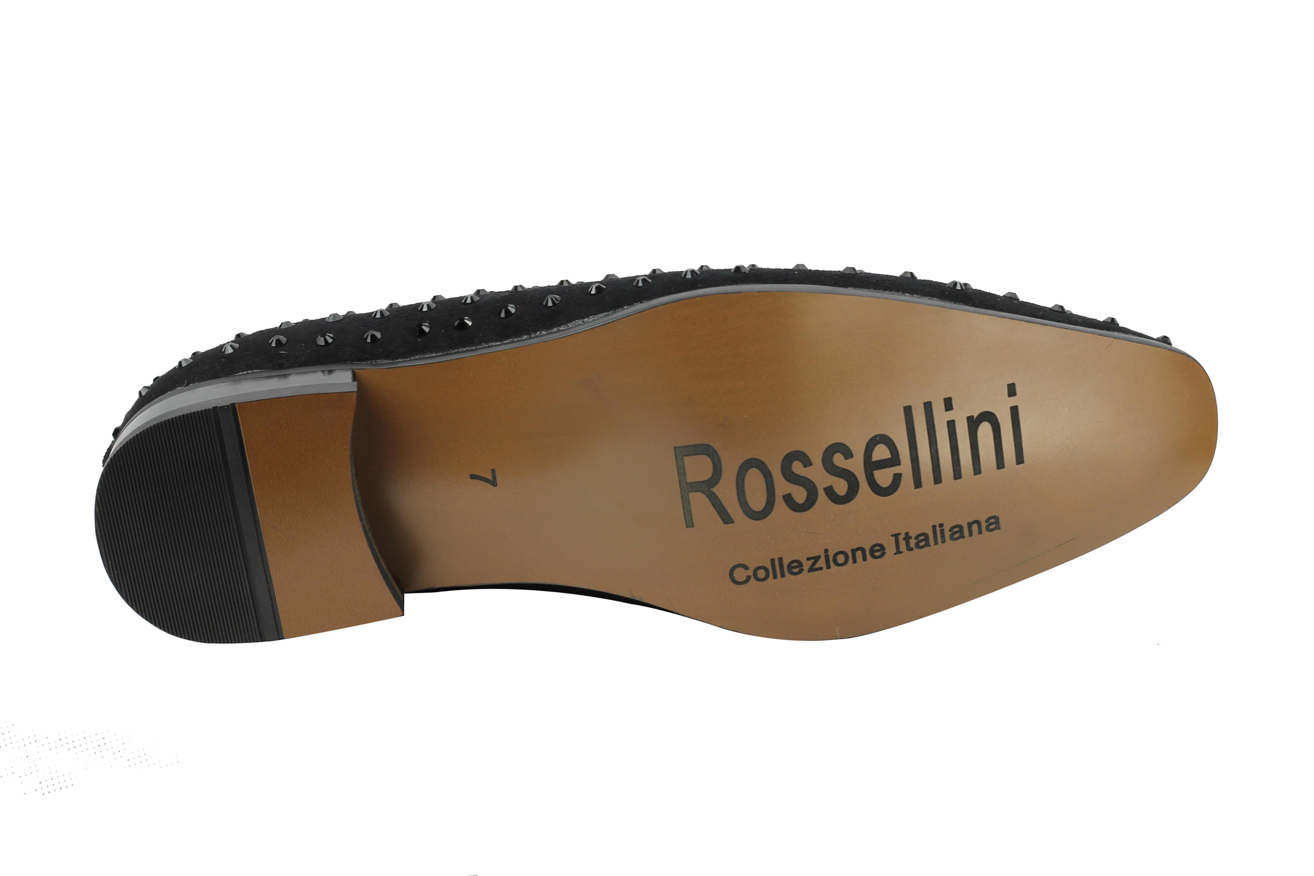 Rossellini-da-uomo-in-pelle-scamosciata-a-punta-Stile-Mocassino-Scarpe-in-Finta-Pelle-Con-Borchie