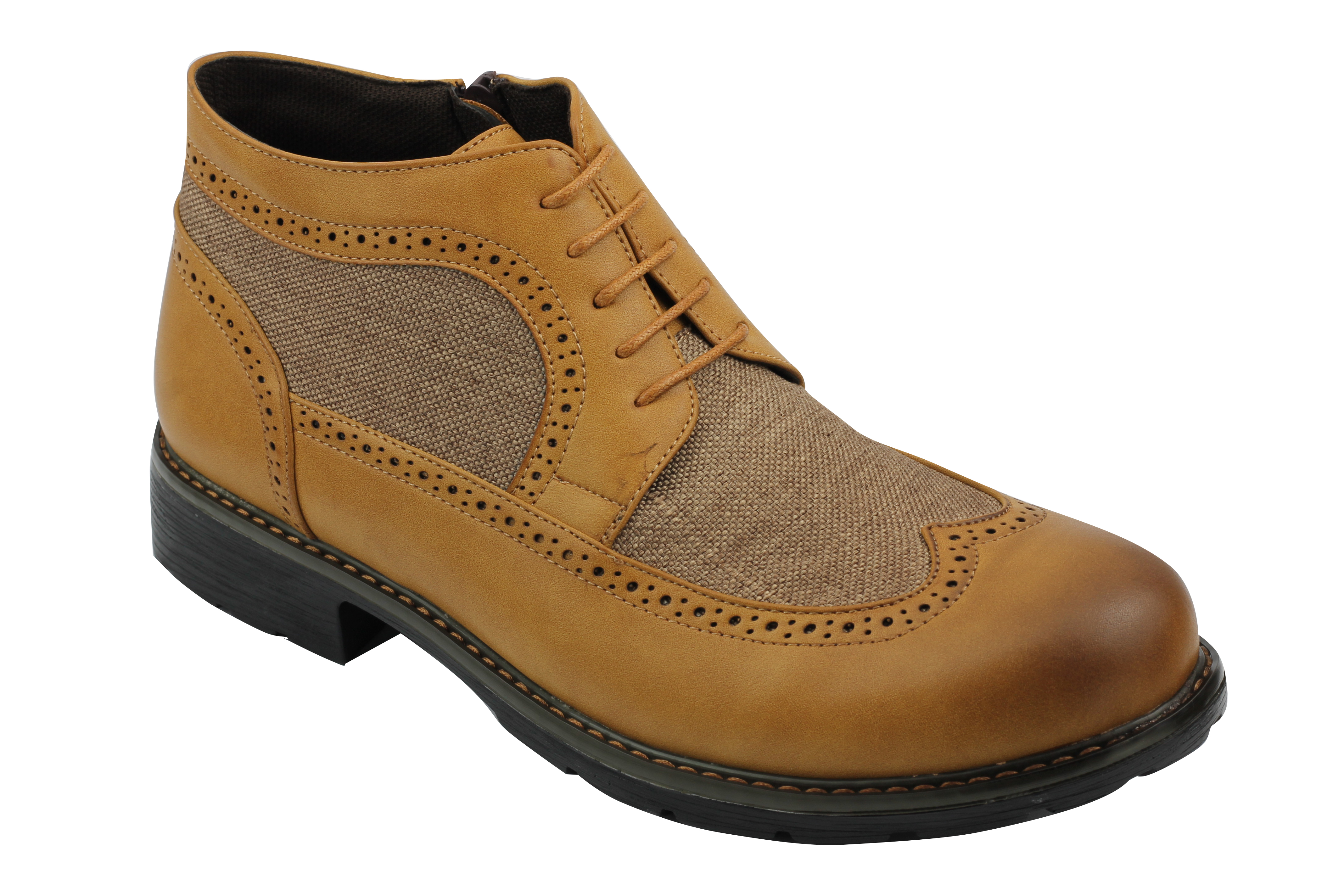 Mens Faux Leather /& Canvas Boots Vintage Smart Casual Lace up Zipped Ankle Shoes