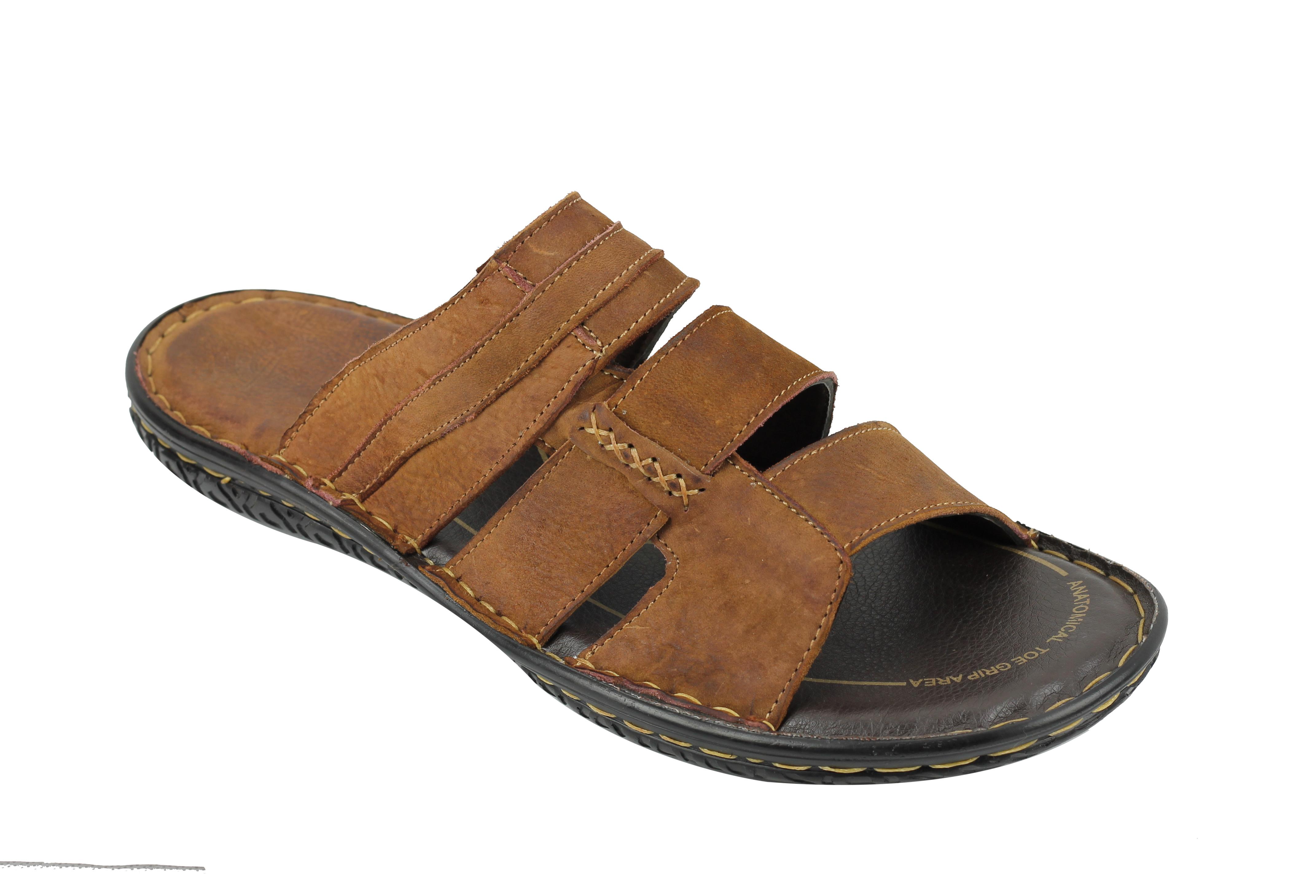 94d79a42a7f Mens Leather Slip on Sandals Black Brown Summer Walking Sliders Open ...