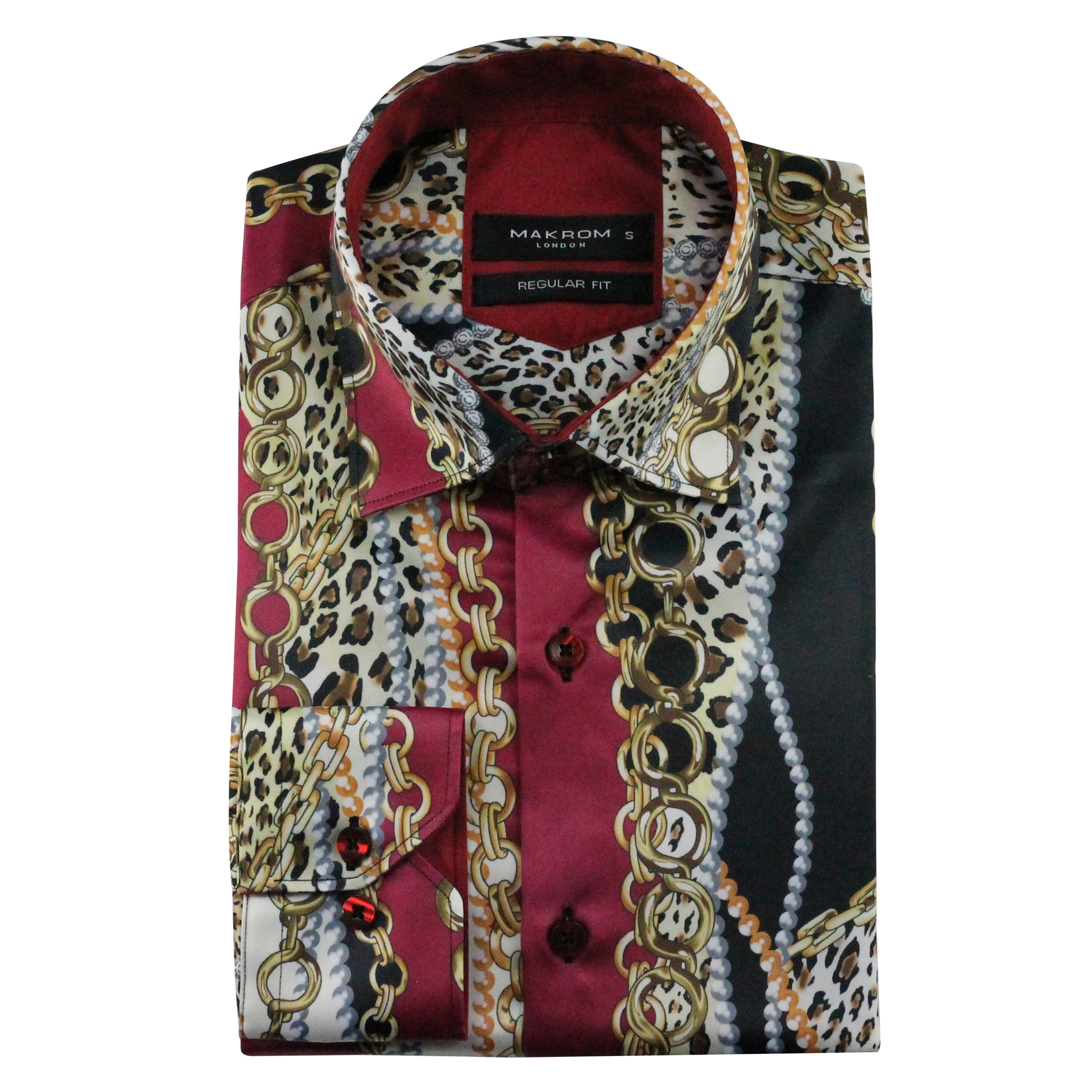 Mens Chain Print Silk Feel Smart Casual Designer Style Button Shirt Pattern Black