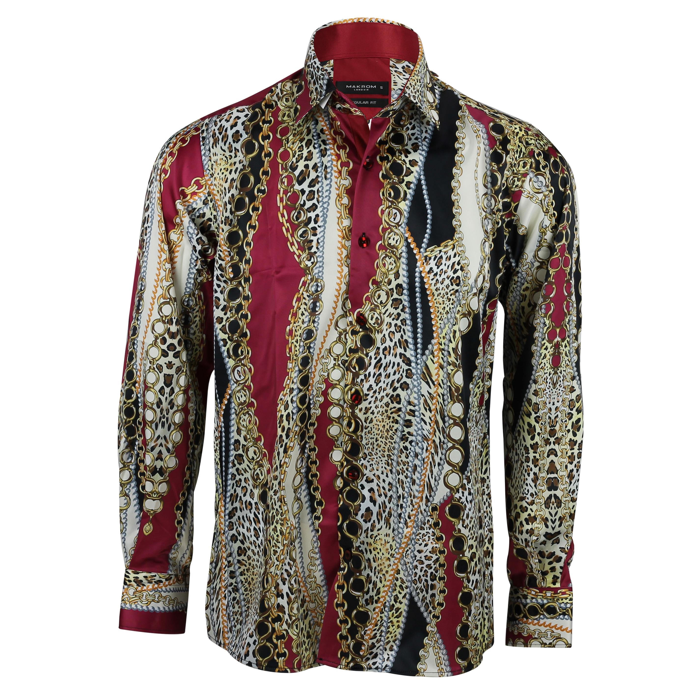 6789121f5c70 Mens Chain Print Silk Feel Smart Casual Designer Style Button Shirt ...