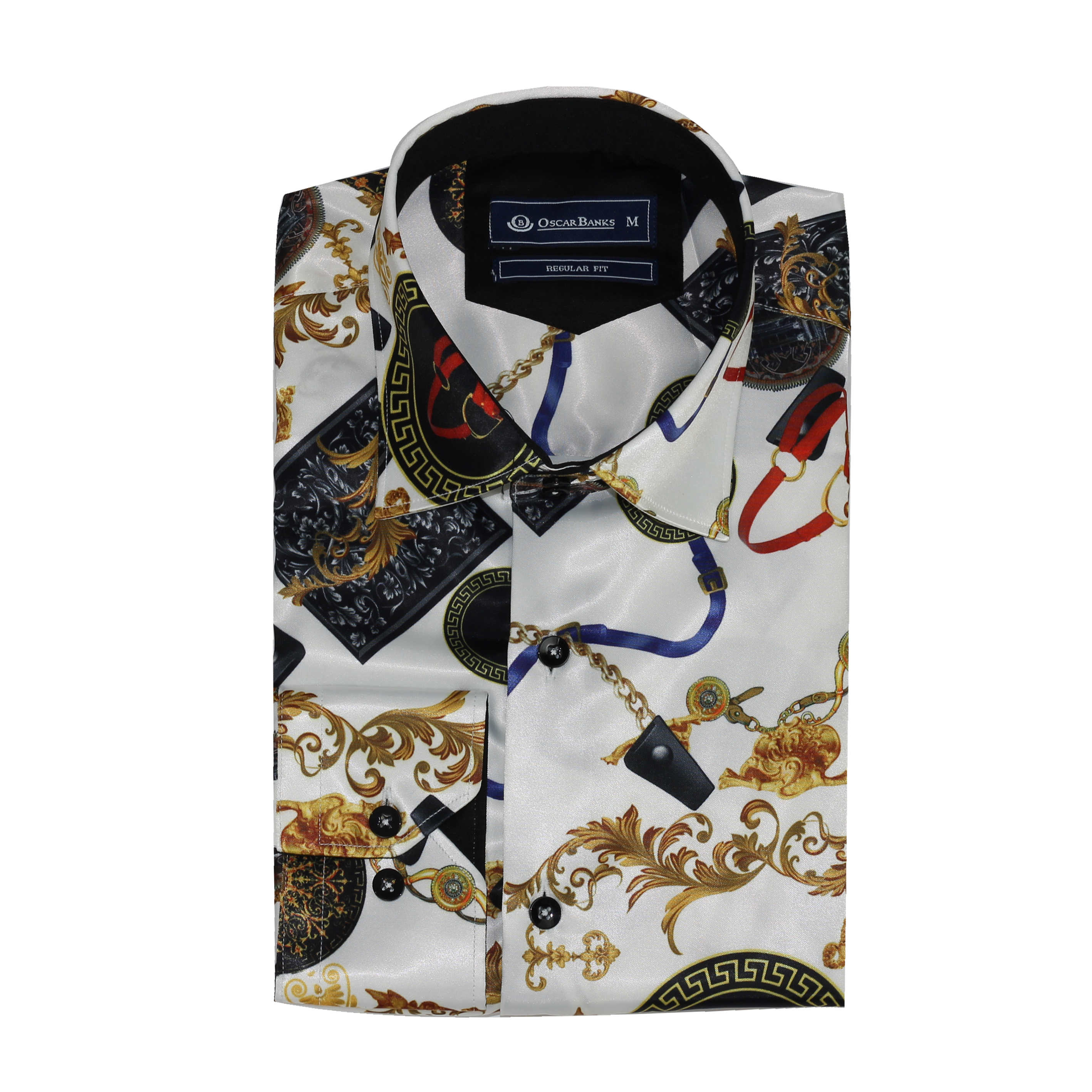 ed1fb7dd75a Details about New Mens Oscar Bank Gold White Designer Style Satin Feel  Print Smart Dress Shirt