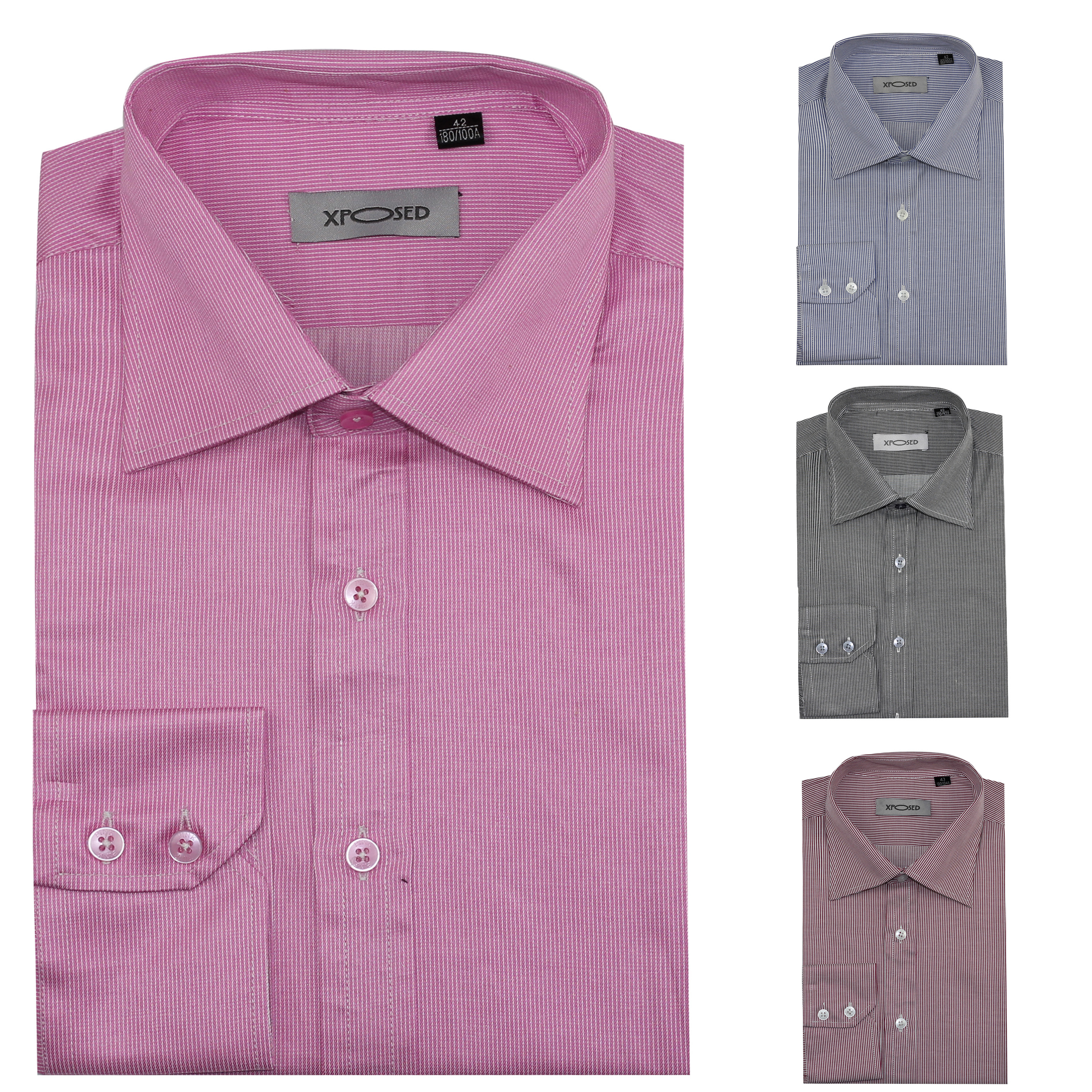 c8a3c451 Mens Smart Formal Office Work Long Sleeve Pin Stripes Shirt Grey Pink Red  Blue
