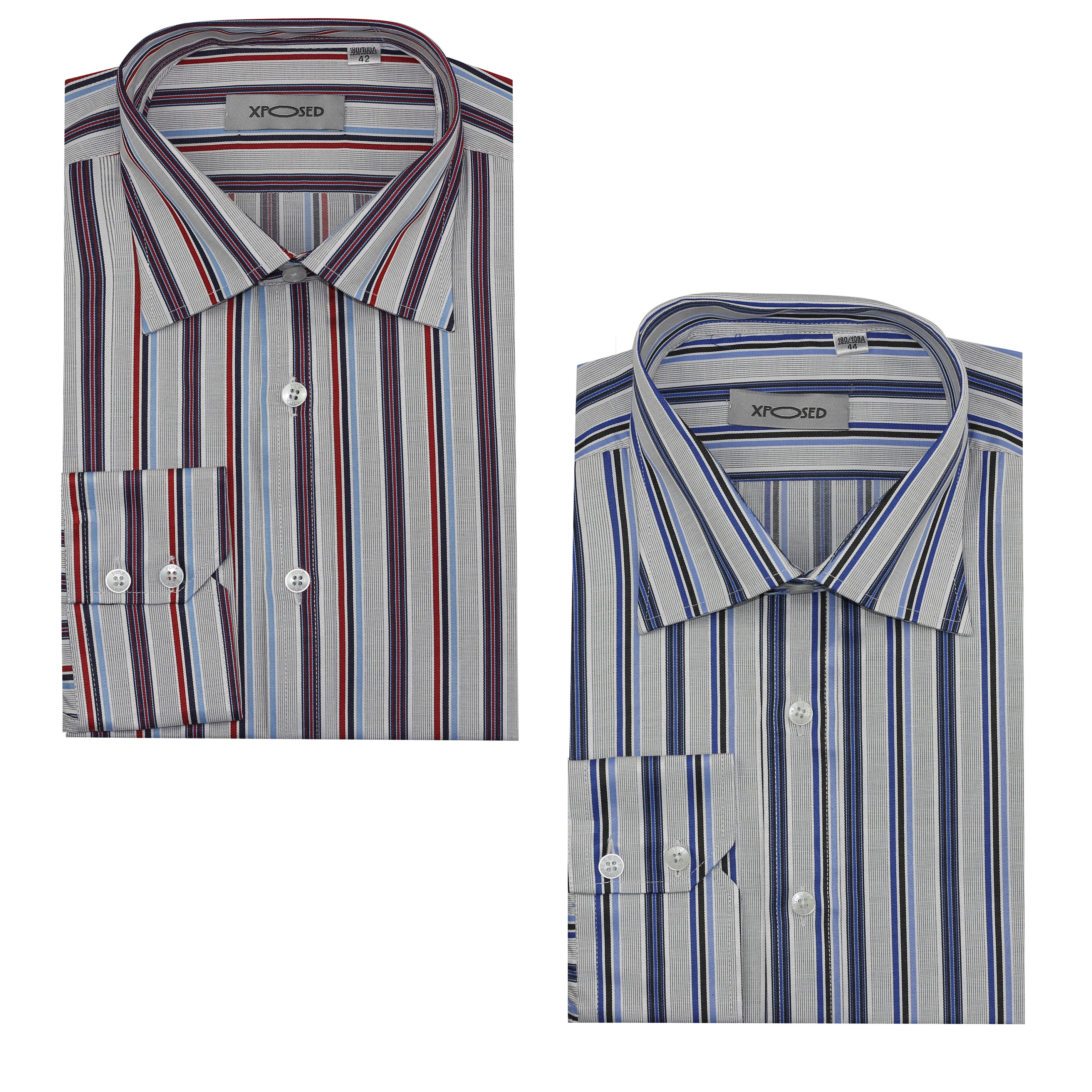 8b0e472fd94 Details about New Mens Smart Formal Office Work Long Sleeve Shirt Blue &  Red Stripe on White