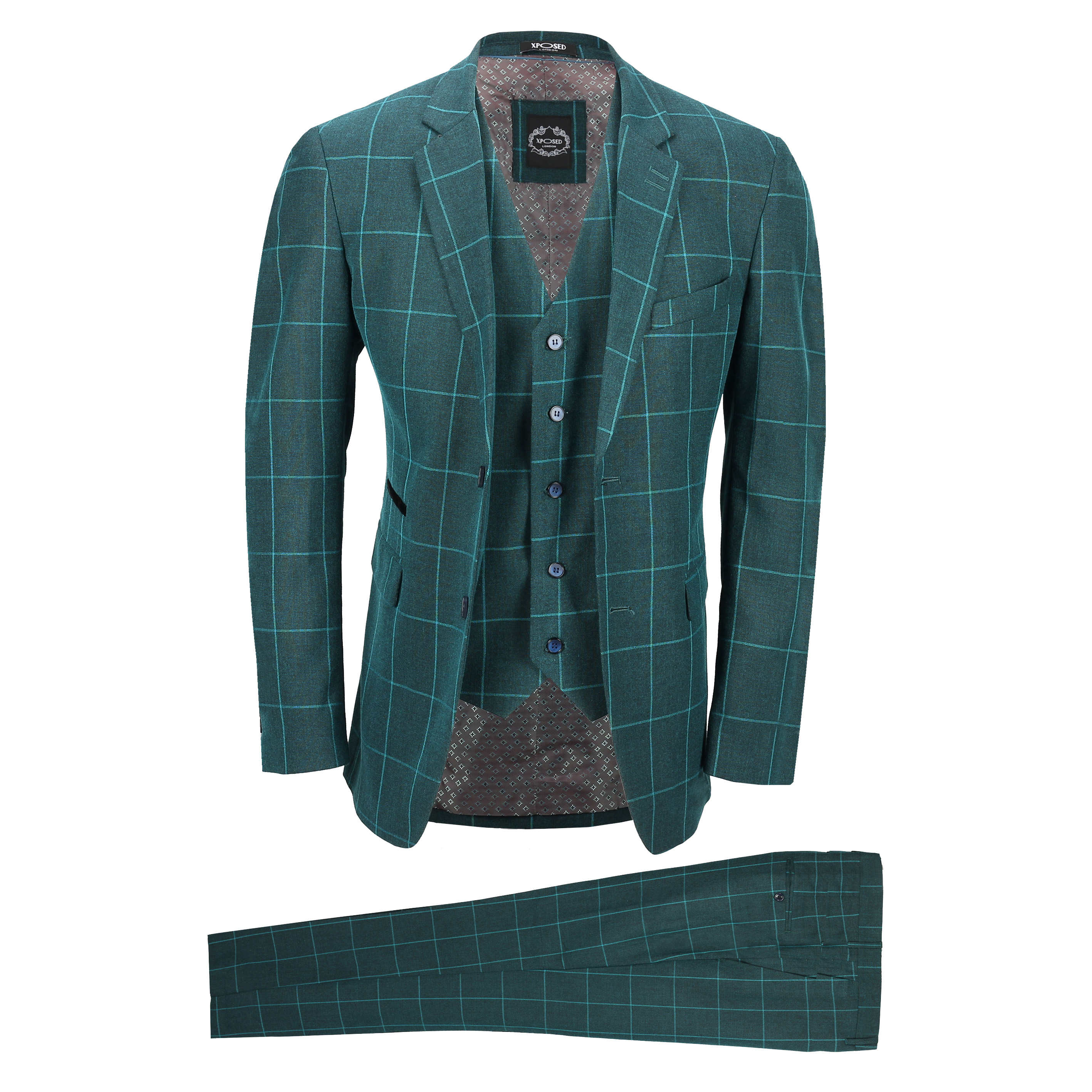 Mens 3 Piece Tweed Green Check Suit Retro Tailored Fit Blazer ...