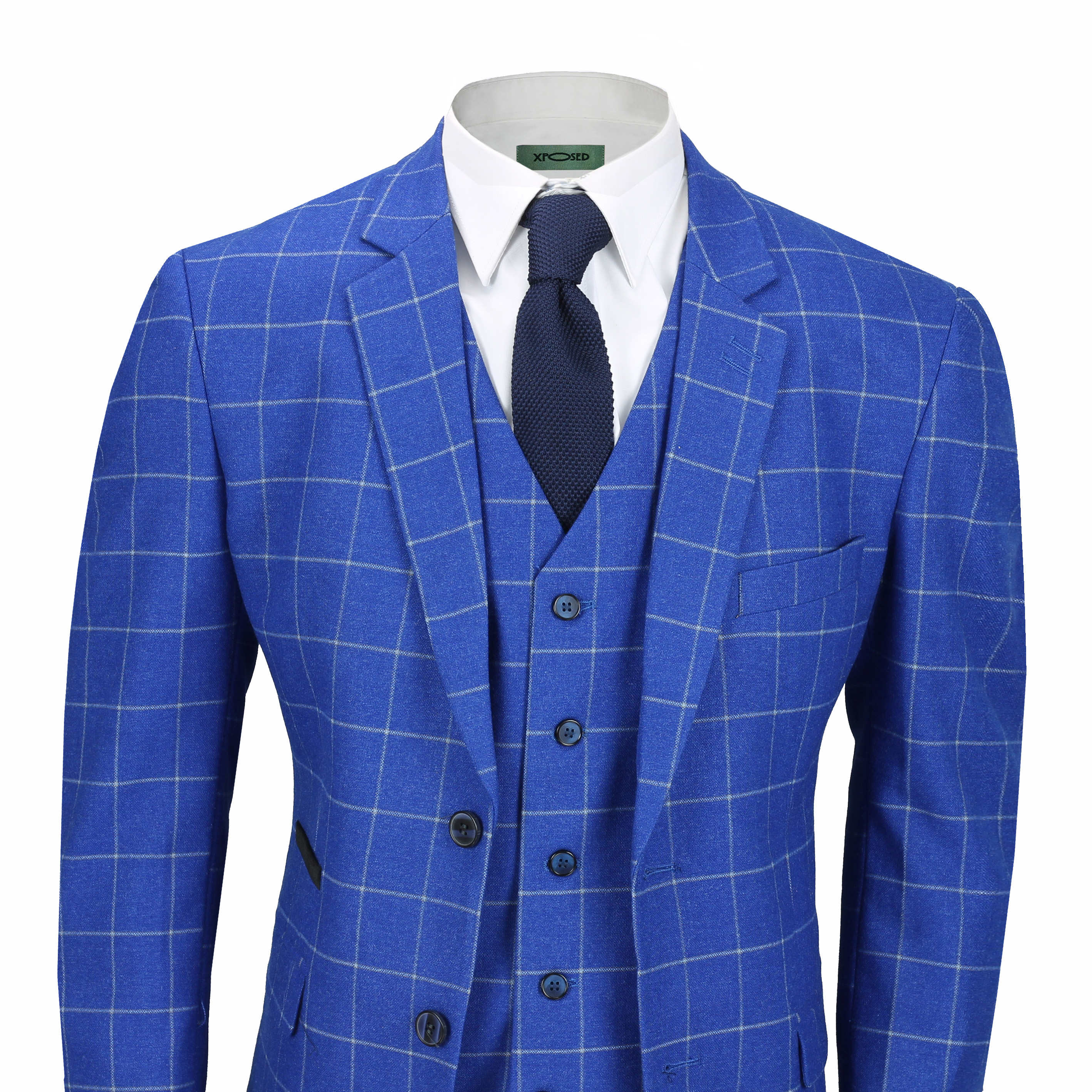 45e400a61 Mens Vintage Tweed White on Blue Check Tailored Fit 3 Piece Suit with  Waistcoat?