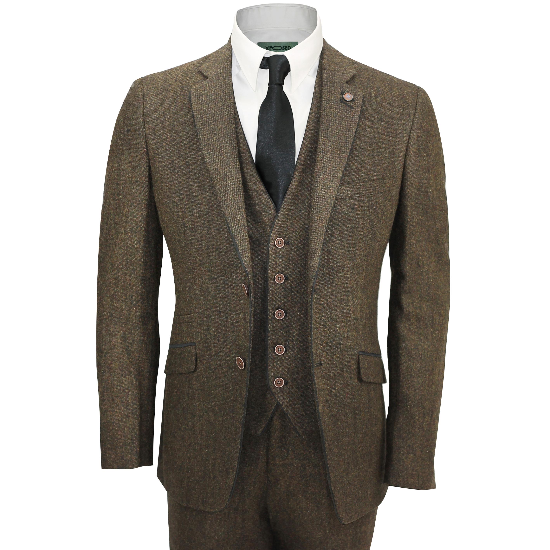 3137063acf5 Mens Brown 3 Piece Wool Mix Herringbone Tweed Suit Vintage Smart Formal  Slim Fit