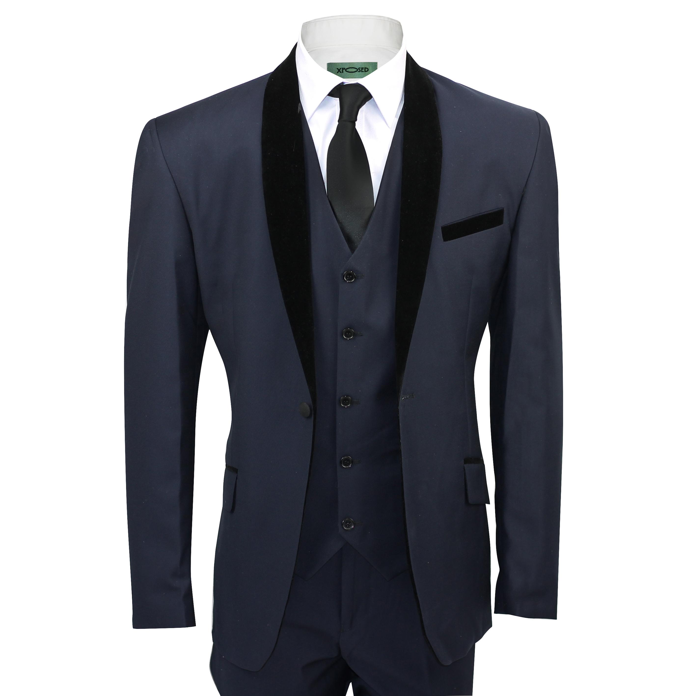 Mens Black Velvet Shawl Lapel Blue Tuxedo Dinner Suit 3 Piece ...