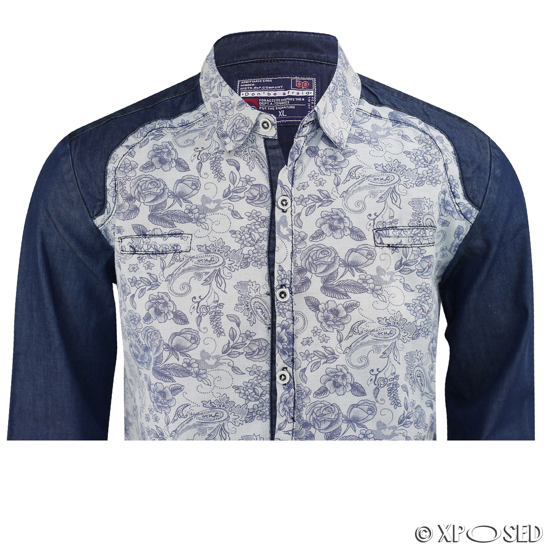 Mens black blue cotton denim printed long sleeves smart for Black and blue long sleeve shirt