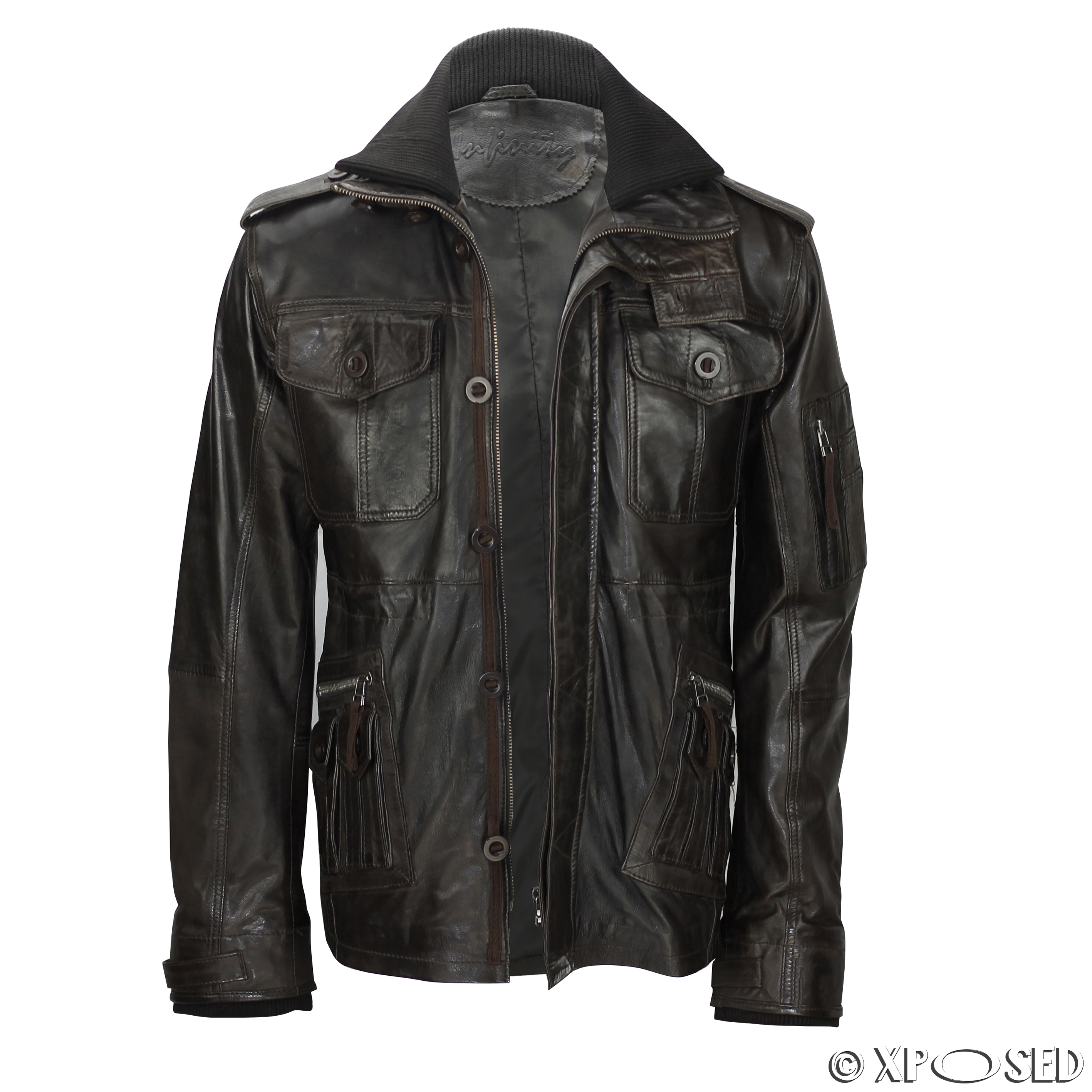 Mens military style leather jacket