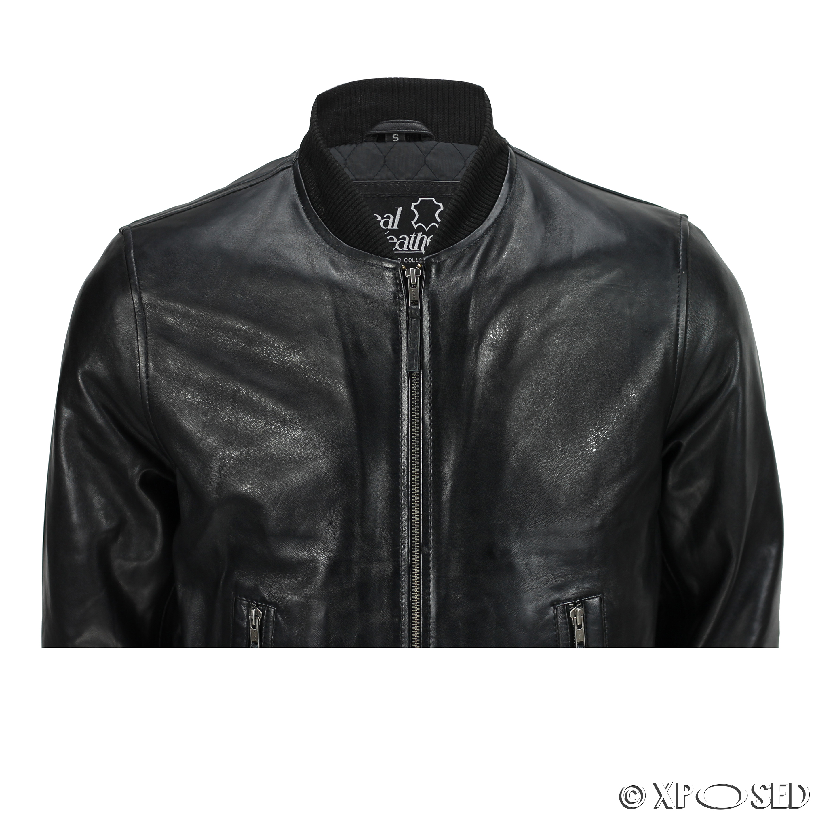 Mens Black Soft Real Leather Vintage Collar Bomber Style ...