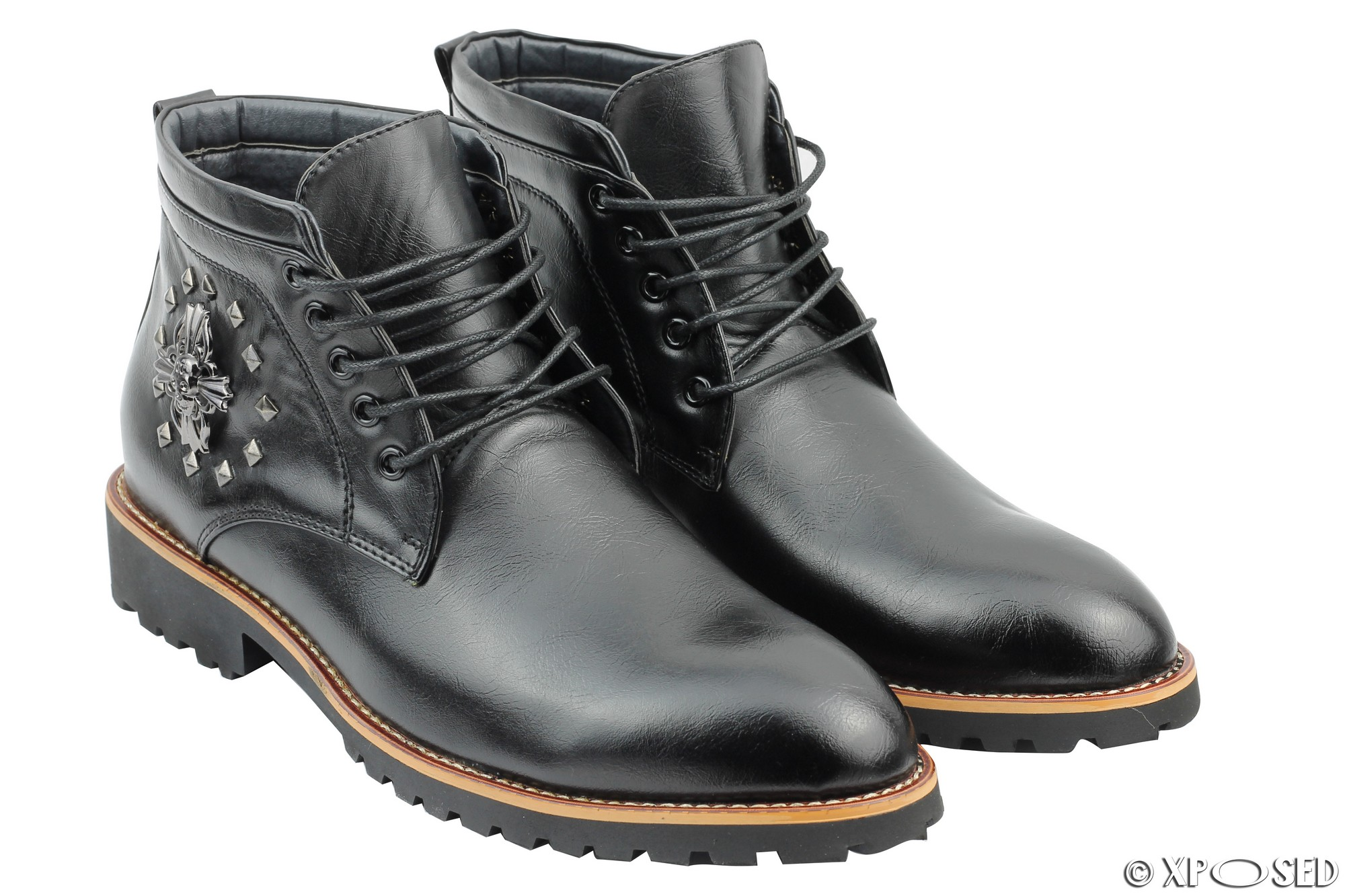 New Mens Faux Leather BootsSmart Casual Lace up Ankle ...