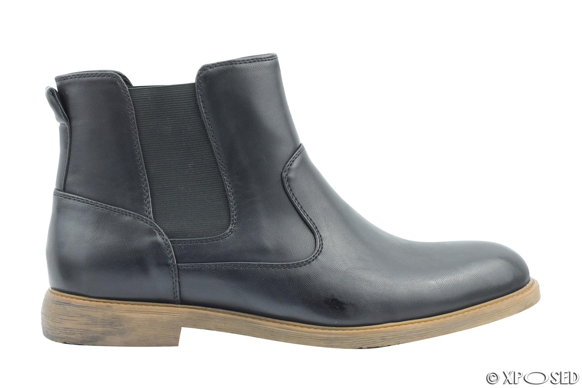 Para hombres Imitación de Cuero Inteligente Casual Chelsea Botas Estilo Italiano Zapatos De Tobillo De Distribuidor