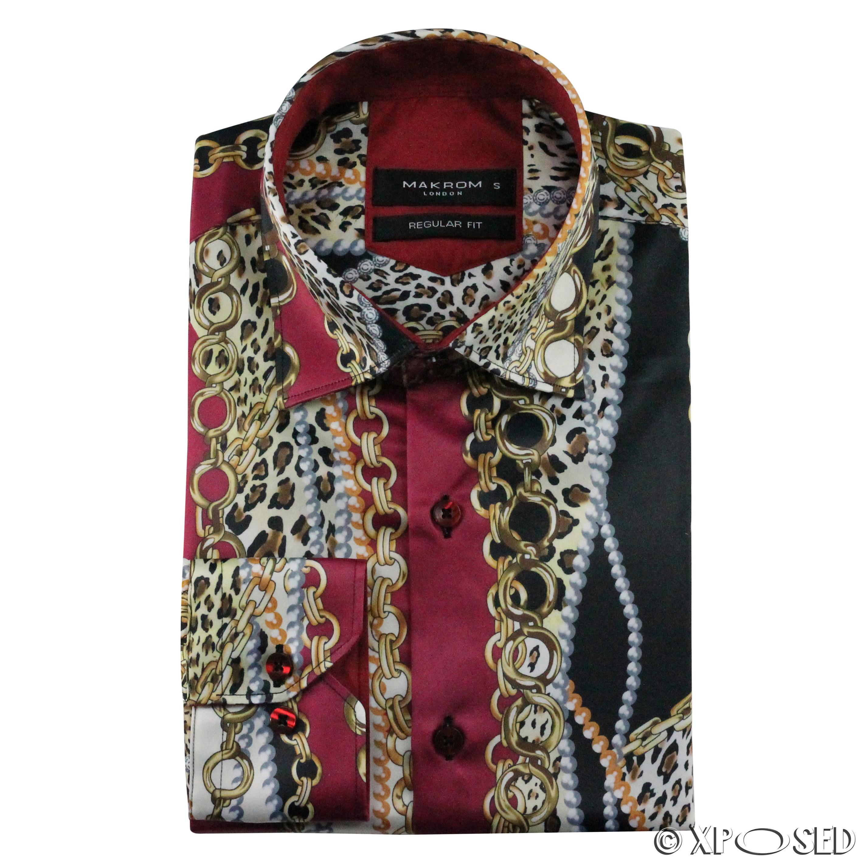 ffa4252ef6b3 Mens Chain Print Silk Feel Smart Casual Designer Style Button Shirt Black  Gold