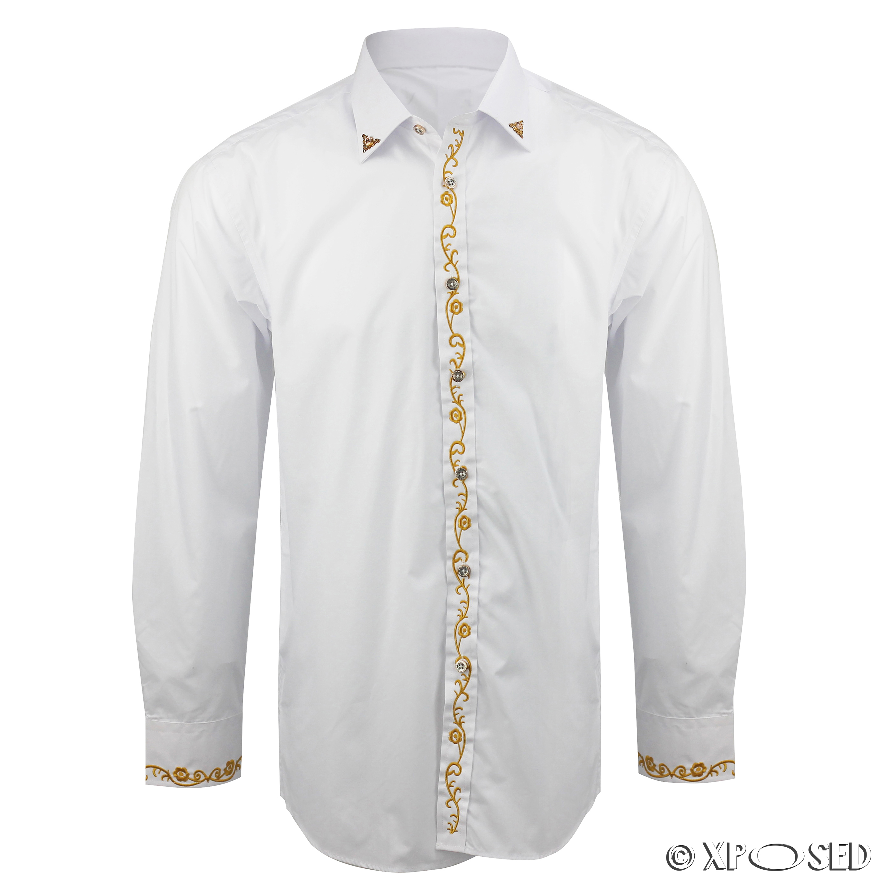 Mens white vintage wedding party dress gold embroidery for Mens formal white shirts