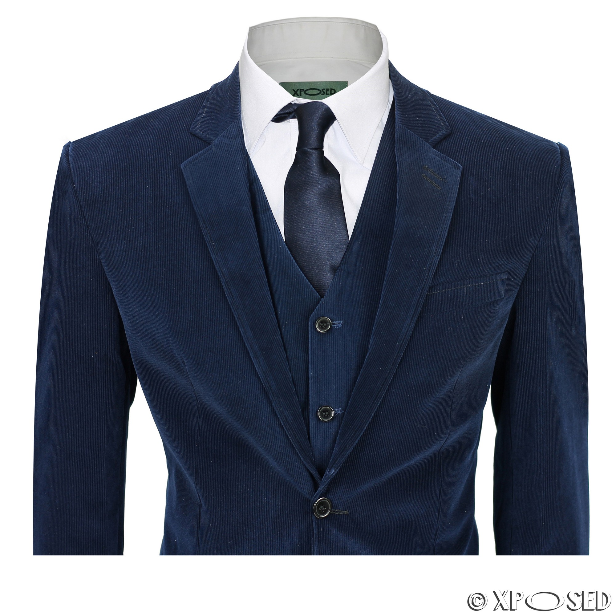 Mens 3 Piece Blue Corduroy Suit Vintage Smart Casual